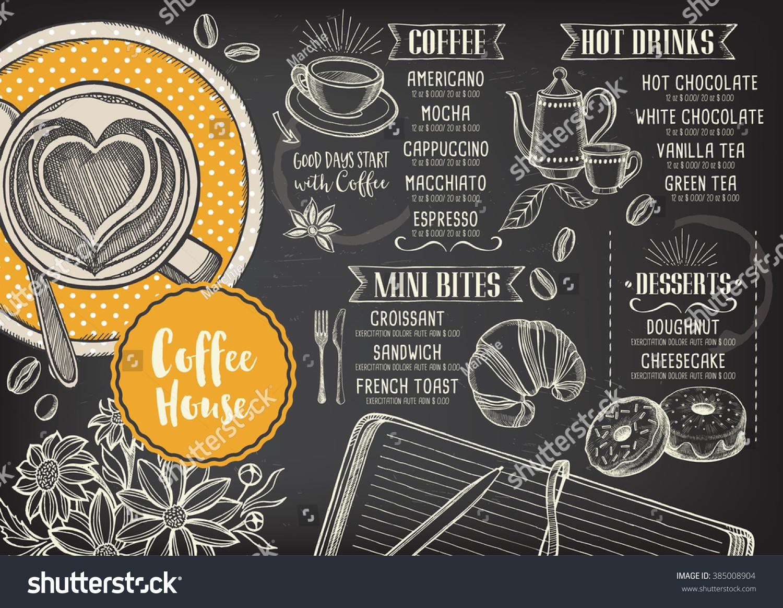 Coffee restaurant brochure vector coffee shop stock vector for Cafe brochure design