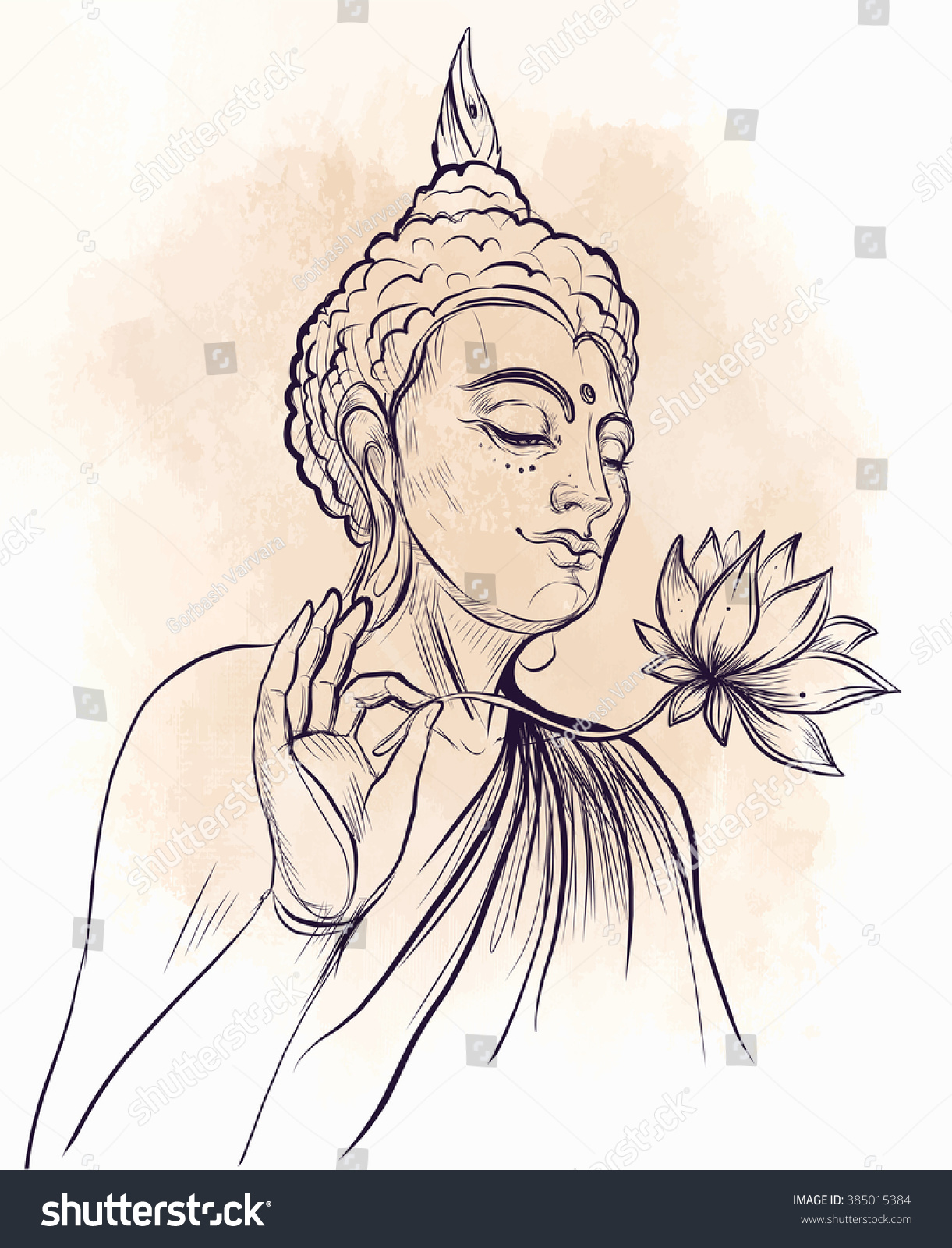 Buddha holding lotus flower vector illustration stock vector buddha holding lotus flower vector illustration over beige retro background sketchy style hand izmirmasajfo