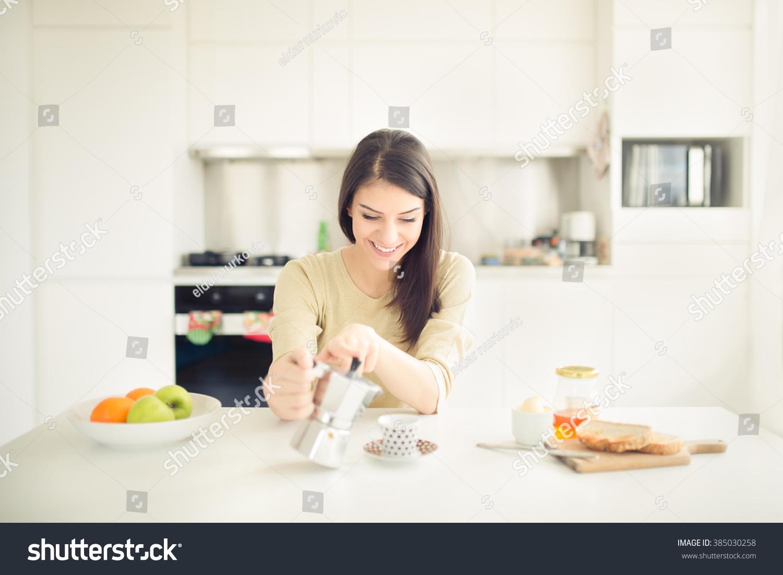 Modern Working Woman Lifestyle Drinking Moka Coffee In
