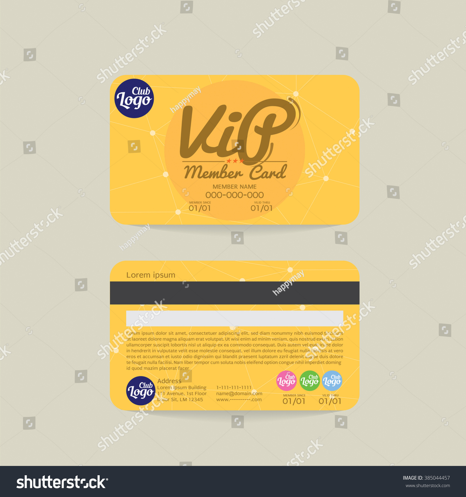 Front Back Vip Member Card Template Stock Vector Royalty Free