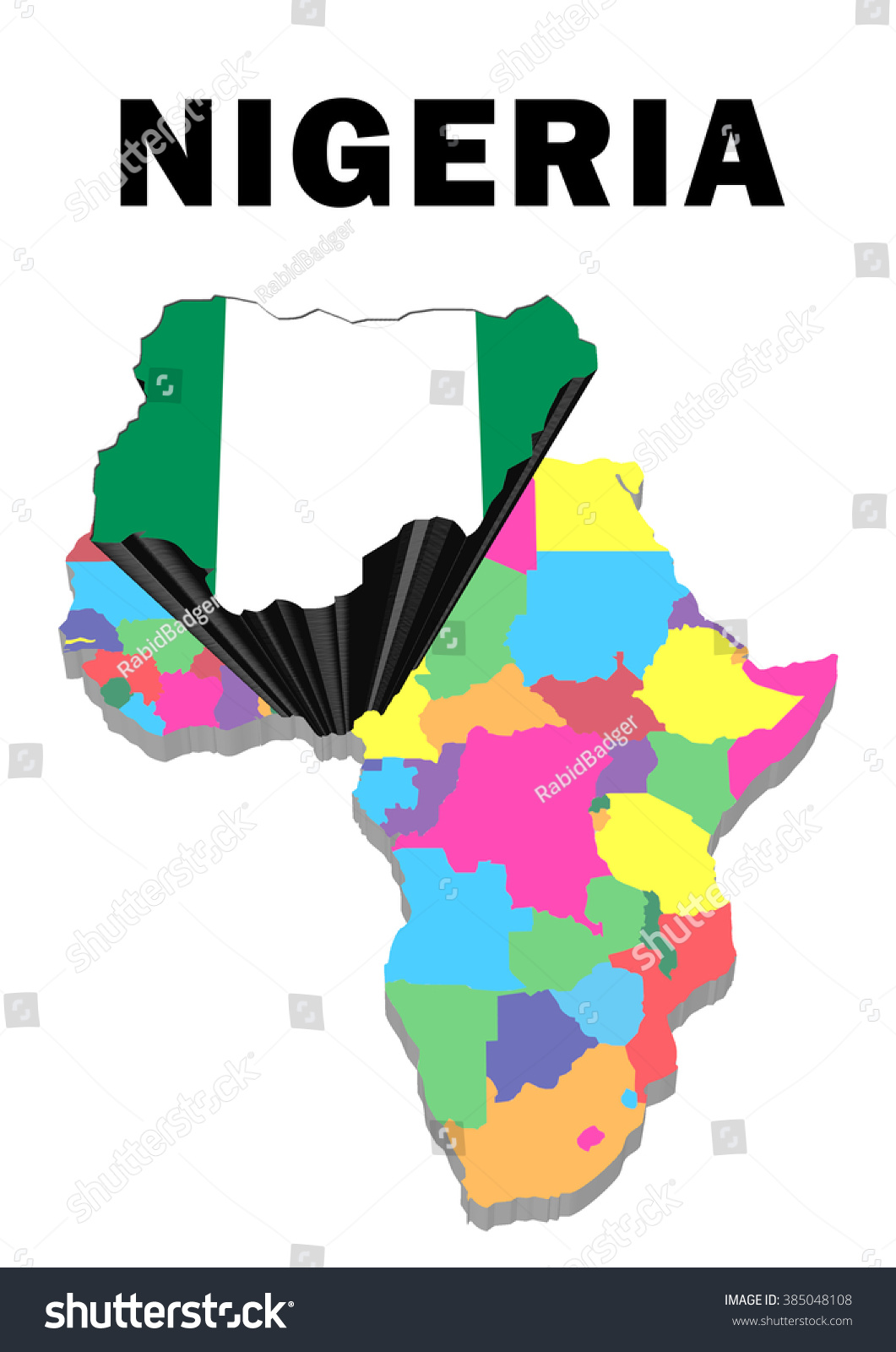 Royalty Free Stock Illustration Of Outline Map Africa Nigeria Raised