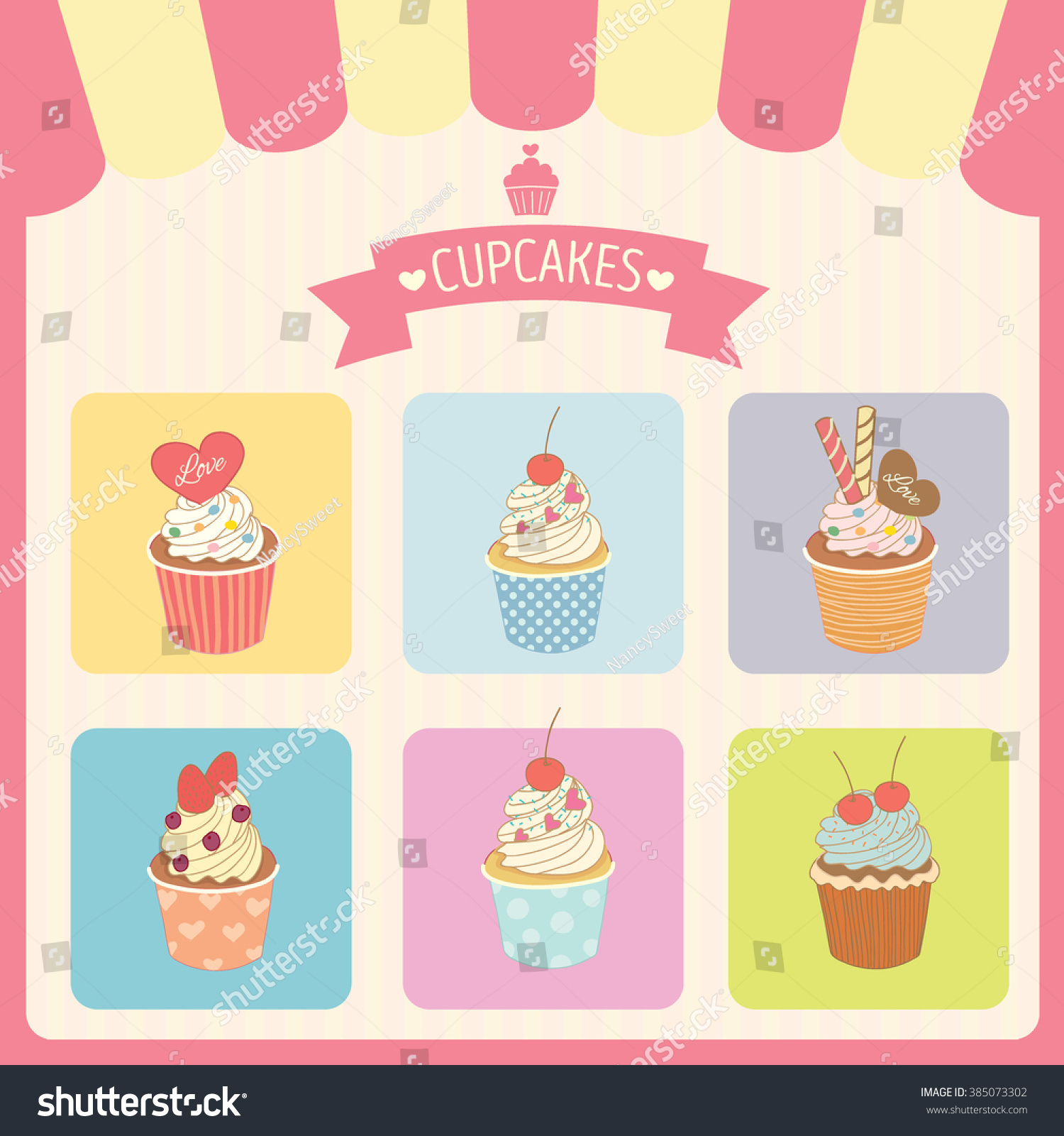 vector cupcakes menu decoration color box stock vector 385073302