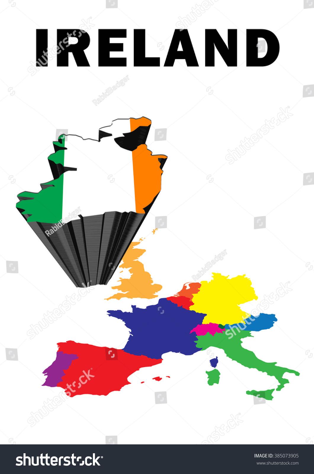Outline Map Western Europe Ireland Raised Stock Illustration ...