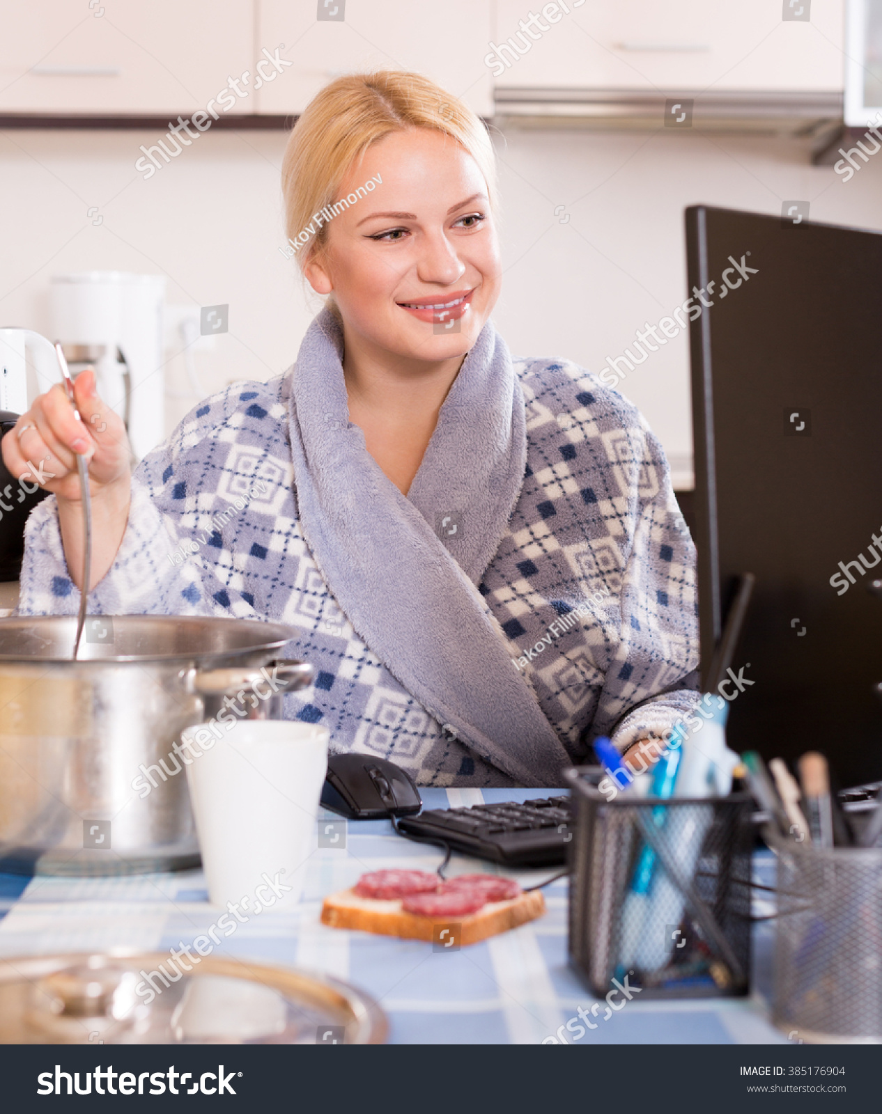 Positive Smiling Woman Dressing Gown Working Stock Photo (Royalty ...