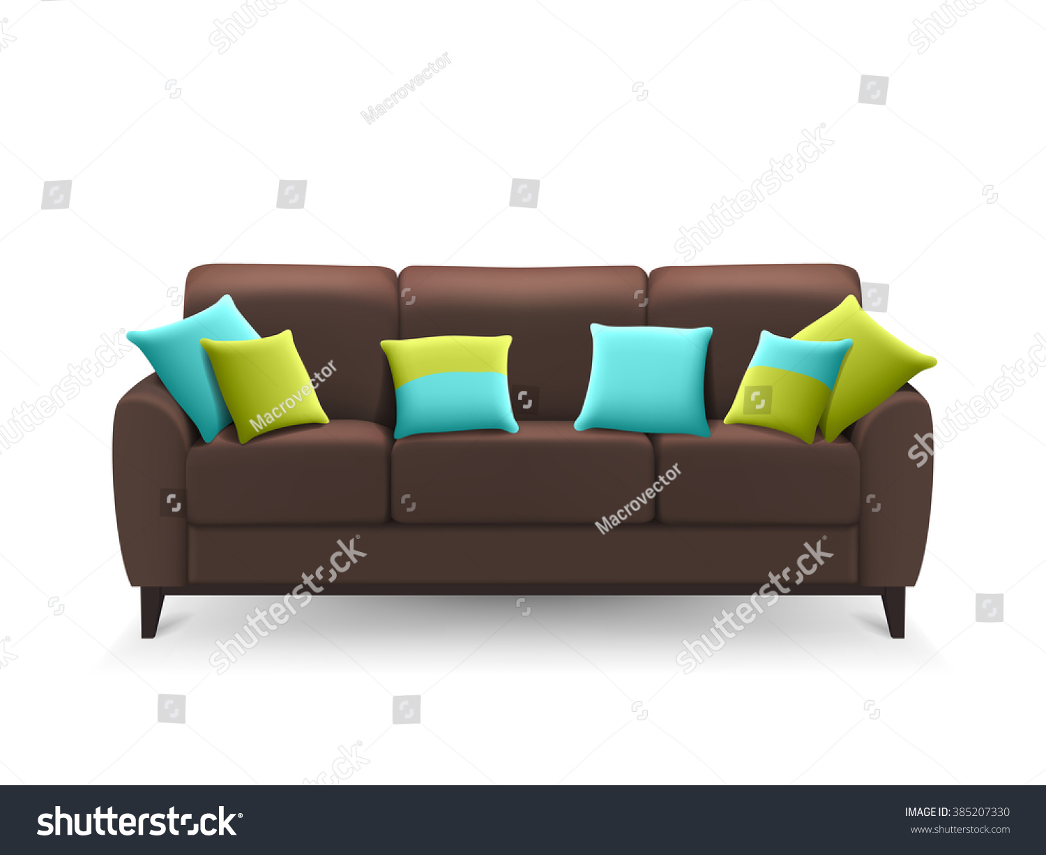 Brown Sofa Decorative Cushions Lounge Sitting Royalty Free