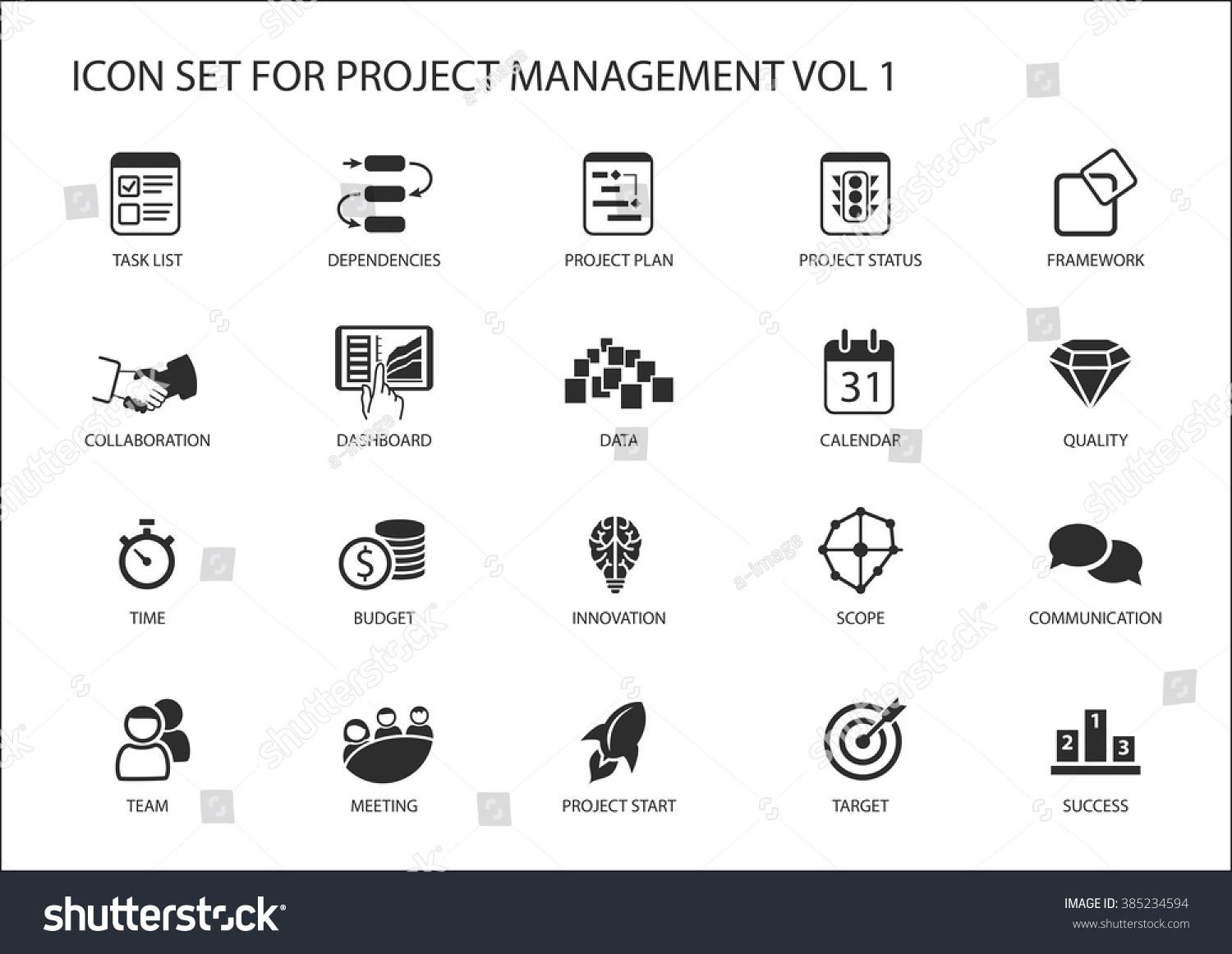 project management icon set various vector stock vector 385234594
