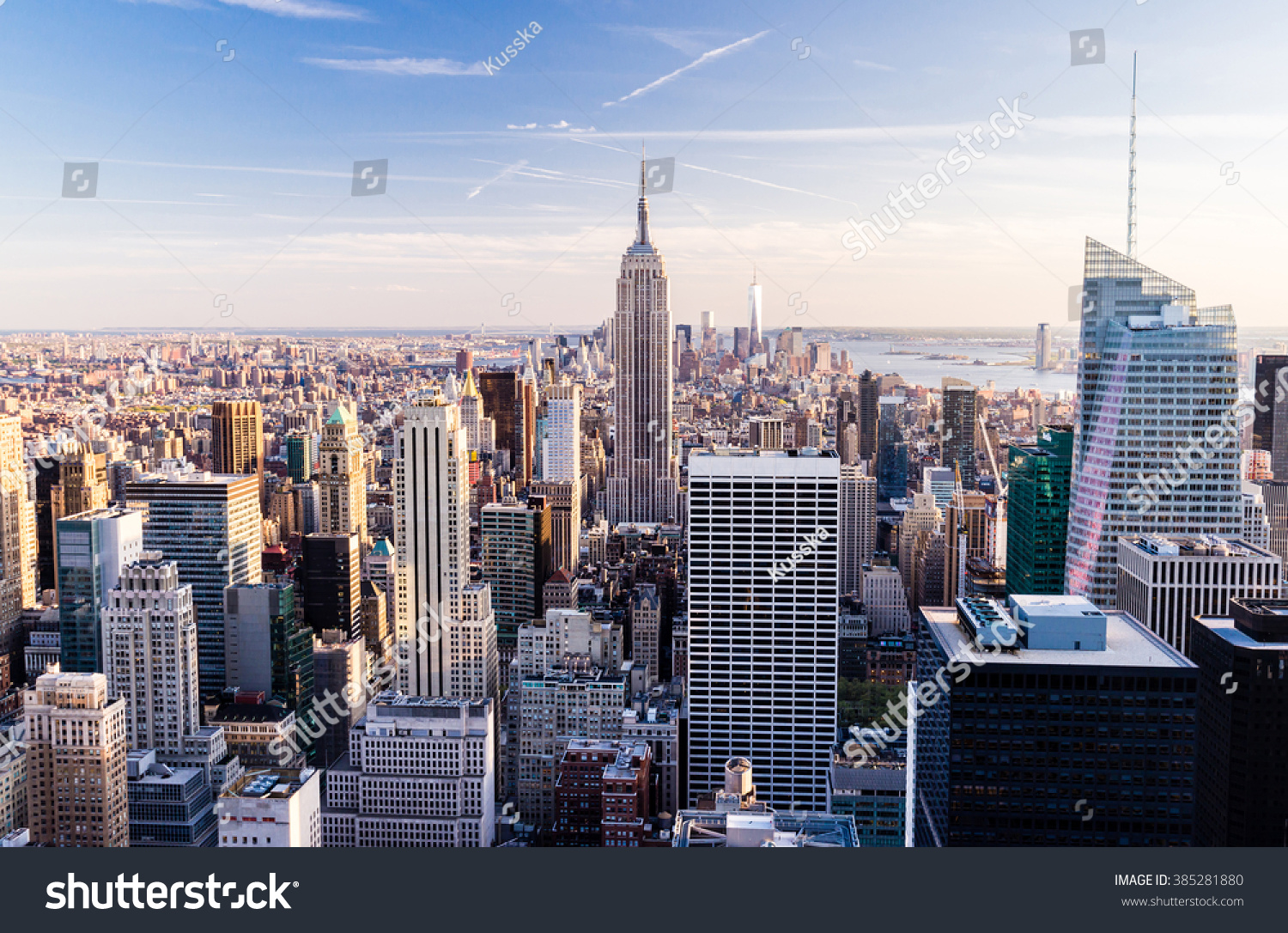 Manhattan cityscape with skyscrapers , New York City (top view)