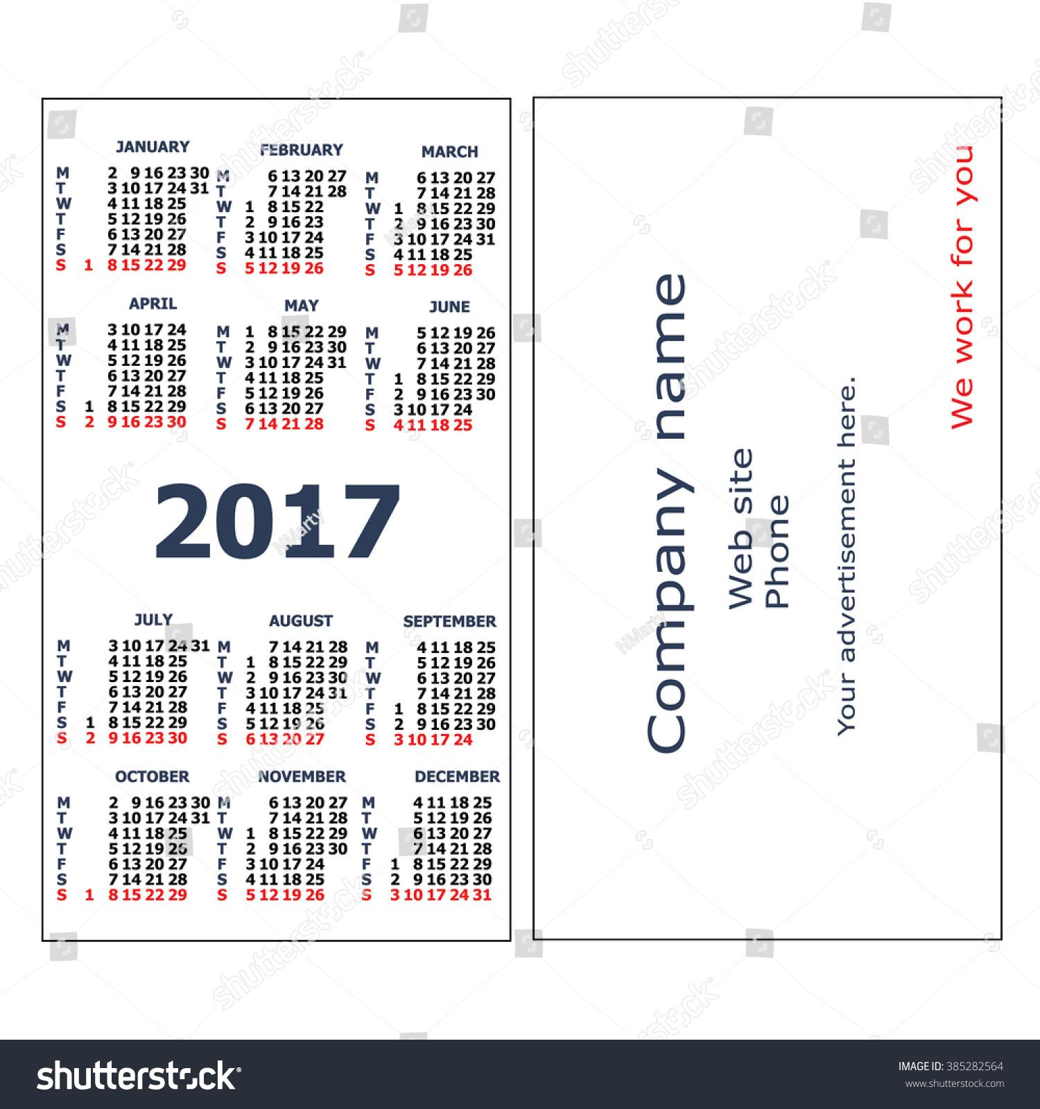 2017 Pocket Calendar Template Calendar Grid Stock Vector 385282564 ...