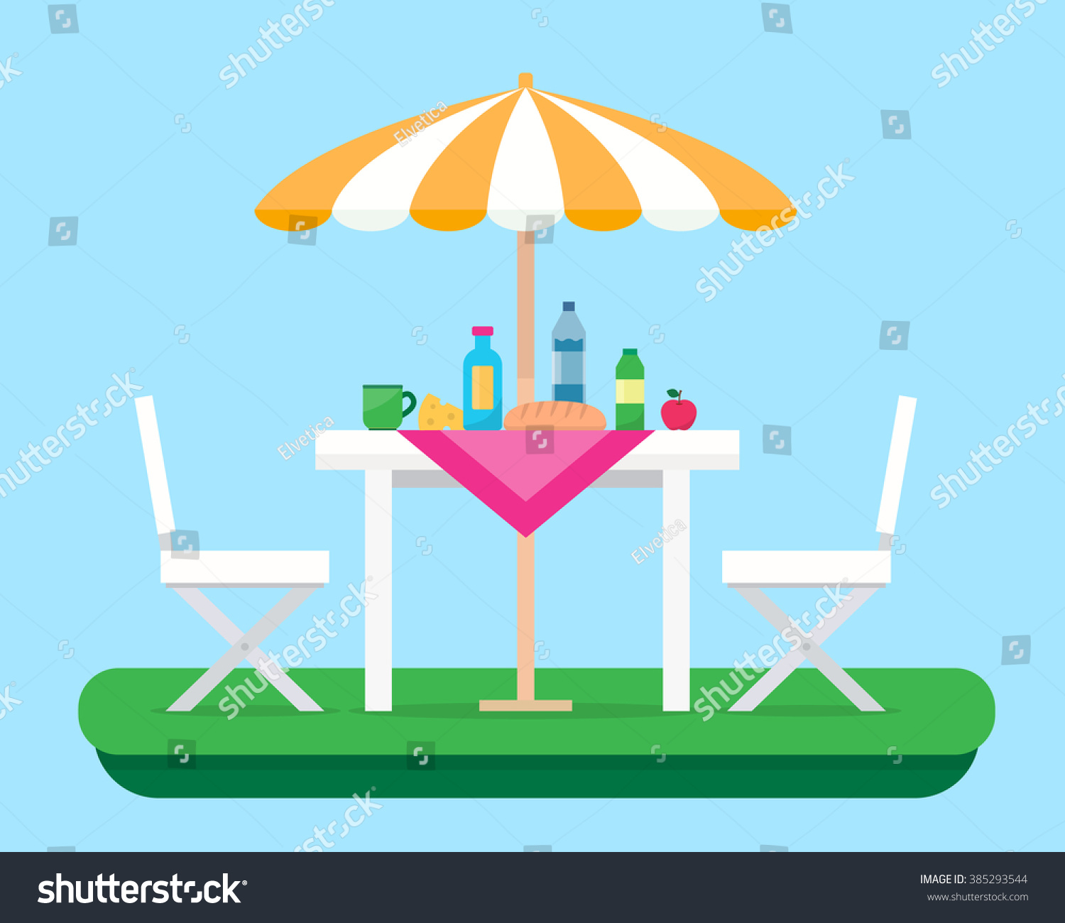 Table With Chairs And Umbrella. Outdoor Picnic In Park. Flat Style Vector  Illustration.