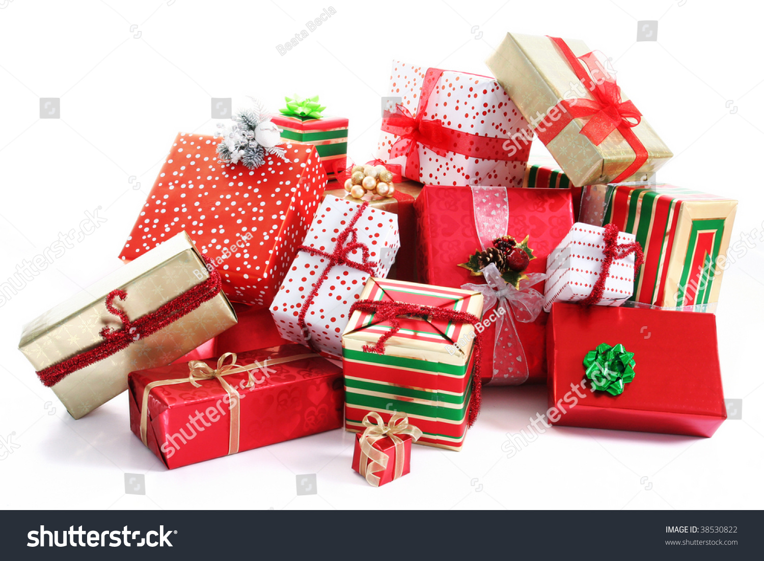Pile christmas gifts colorful wrapping ribbons stock photo