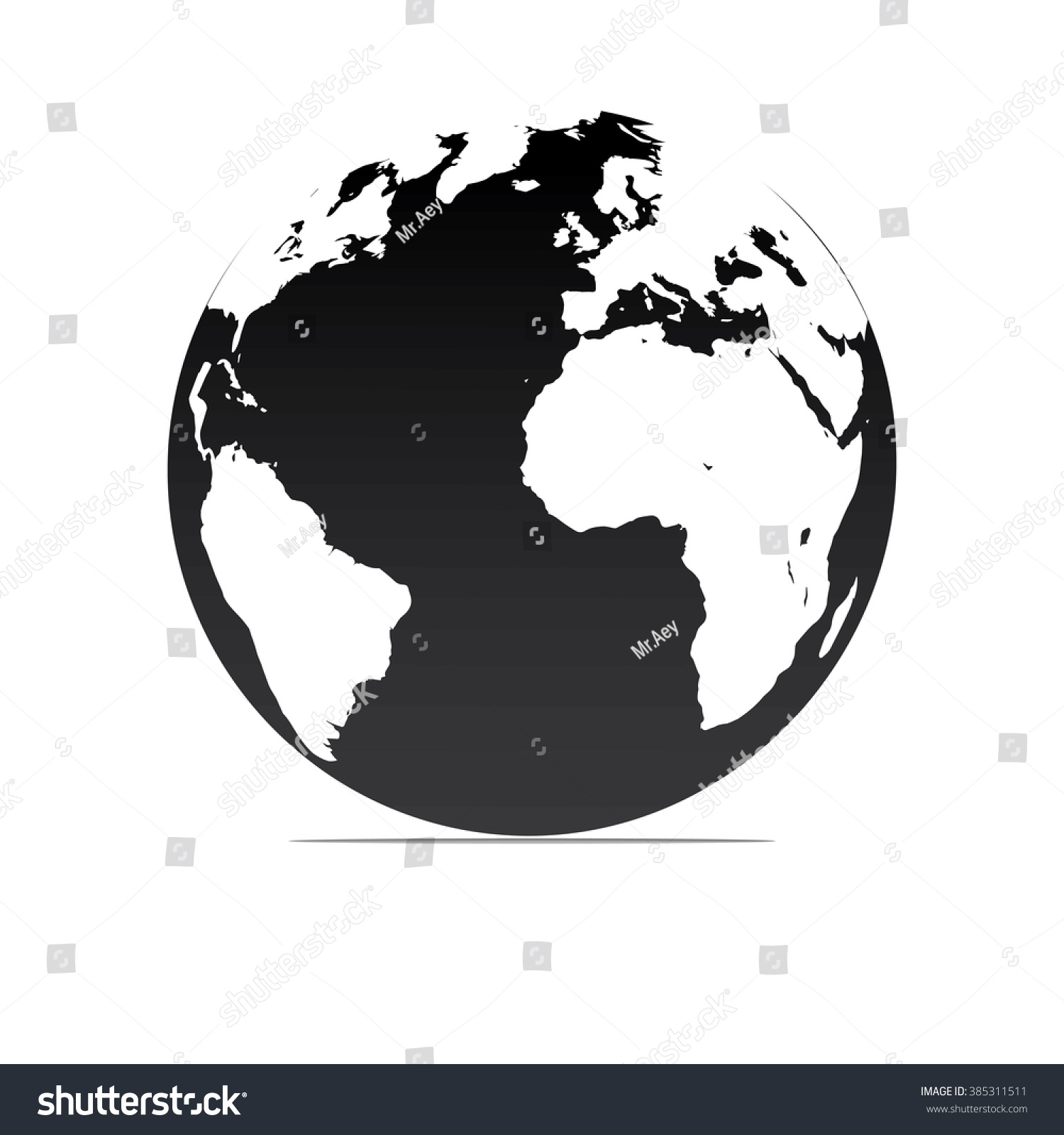 Black White Vector Earth Globes Isolated Stock Vector ...