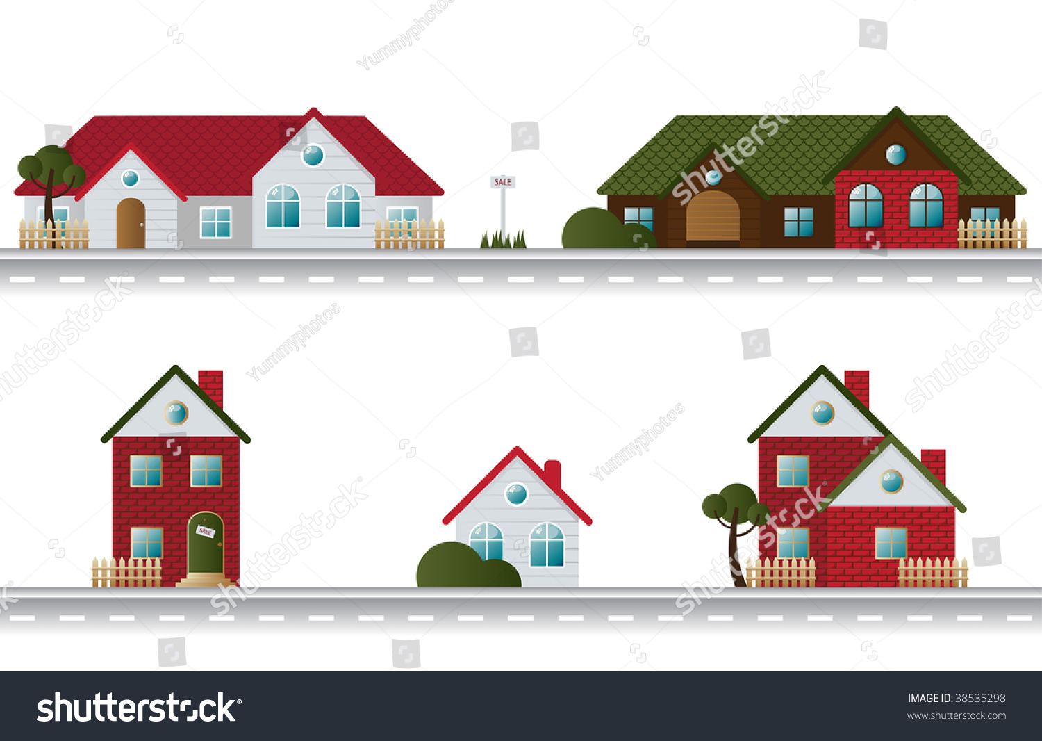 Astonishing Street Houses Different Architectural Styles Stock Vector 38535298 Largest Home Design Picture Inspirations Pitcheantrous
