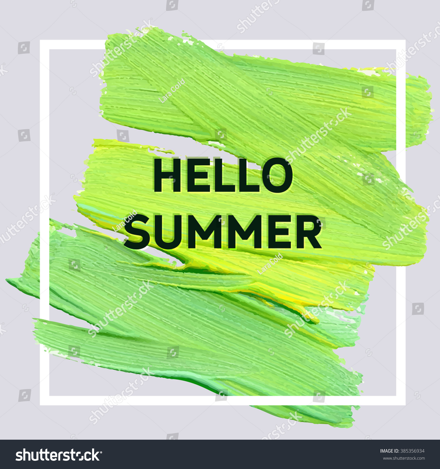 Ordinaire Hello Summer. Mood Square Acrylic Stroke Poster. Text Lettering Of An  Inspirational Saying.