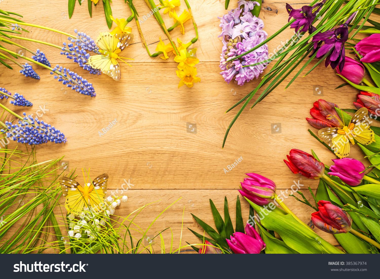 Beautiful Spring Flowers Butterflies Arranged Around Stock Photo