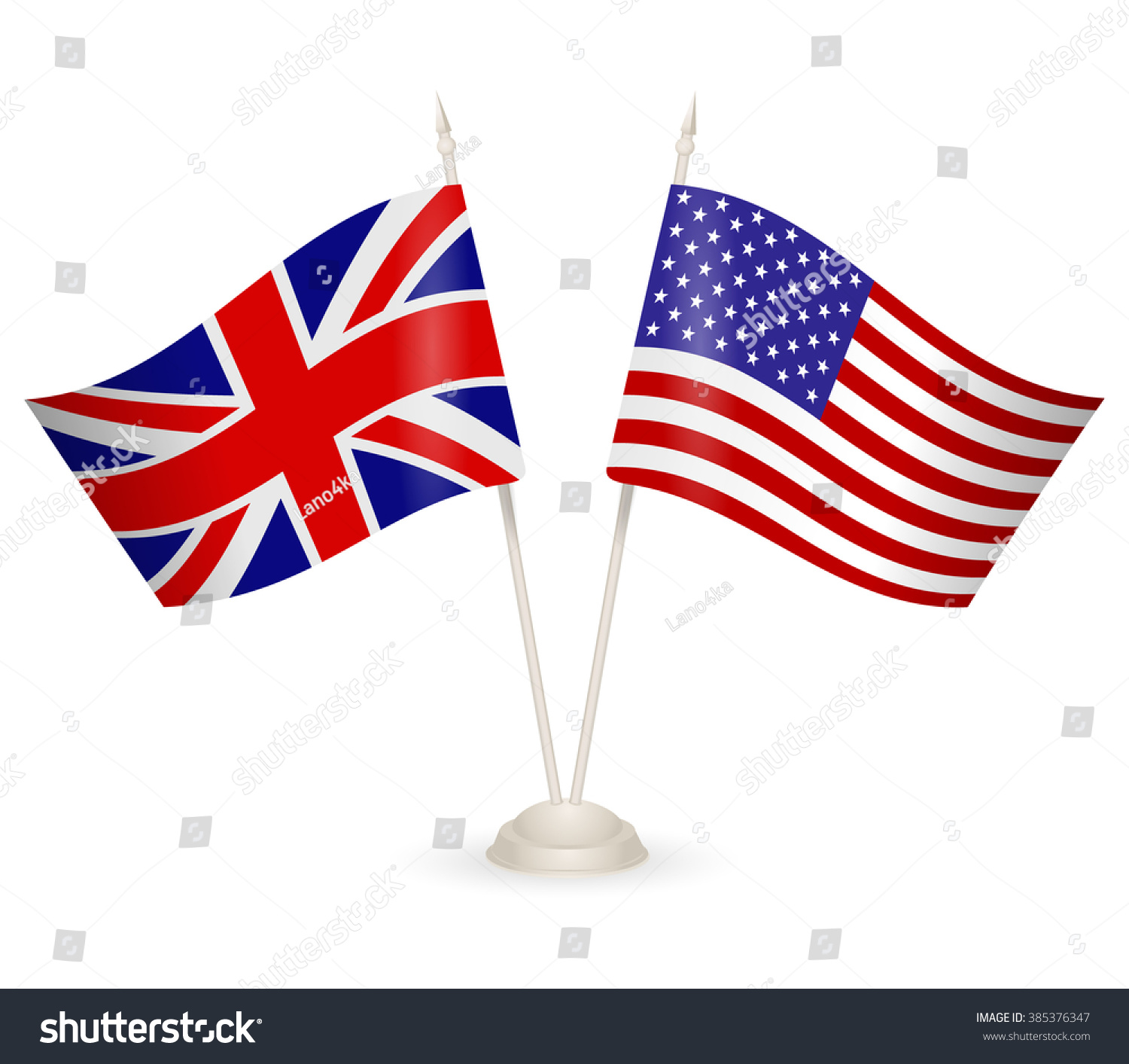 table stand flags england usa symbolizing stock vector 385376347