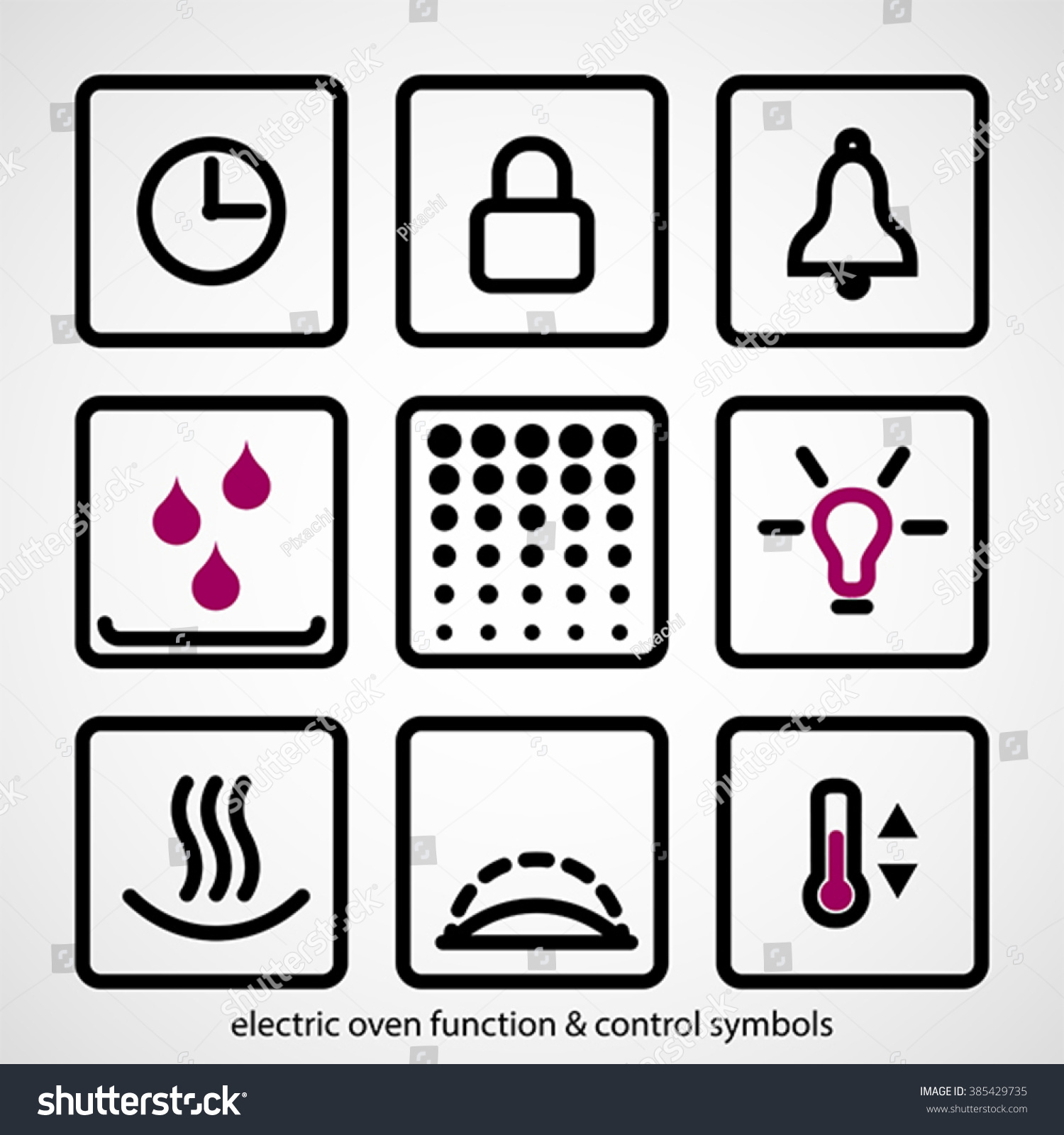 Electric Oven Function Control Symbols Outline Stock Vector Hd