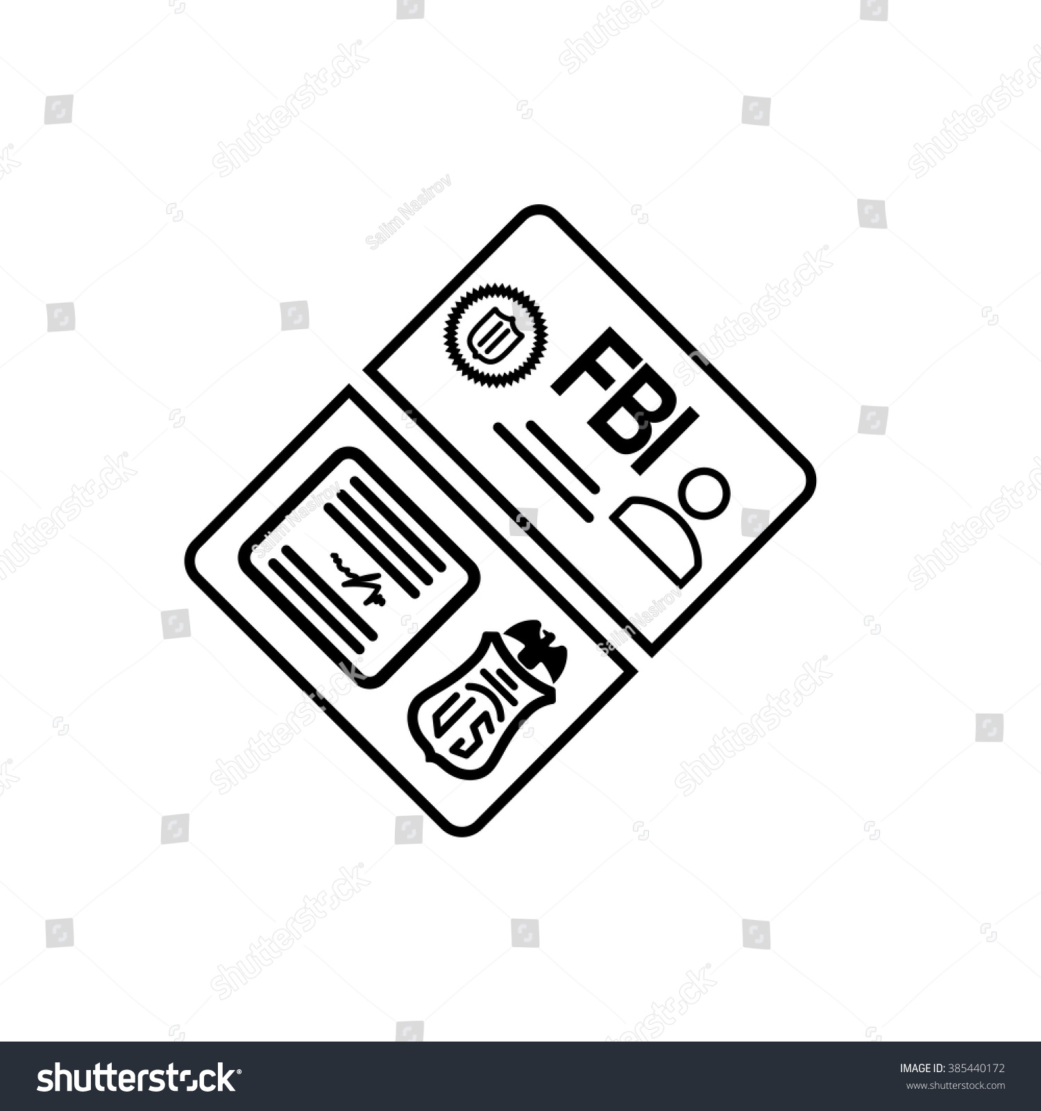 Security set fbi id card line stock vector 385440172 shutterstock security set fbi id card line icon magicingreecefo Image collections