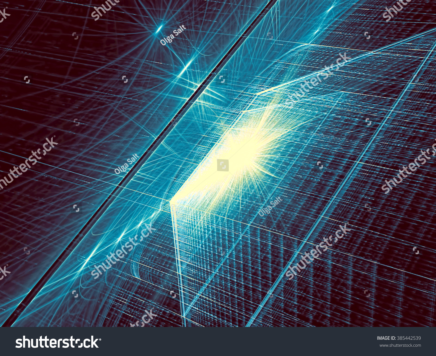 Abstract Technology Background With Light Effect: Abstract Tech Background Computergenerated Image Fractal