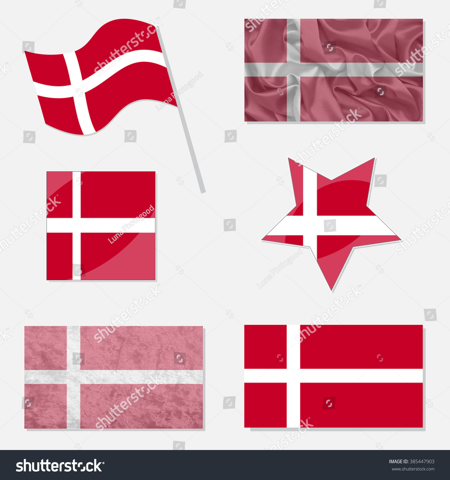 Denmark Flags Made Different Variations Flat Stock Vector - Denmark flags