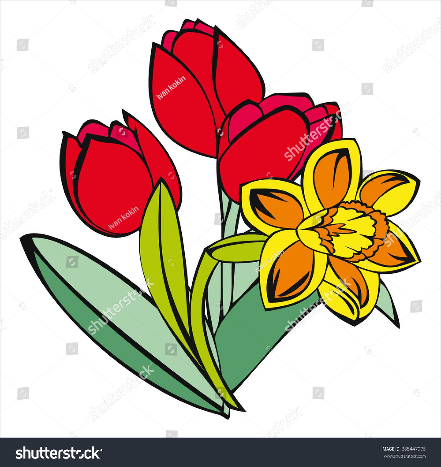 Tulip Daffodil Spring Flowers Cartoon Vector Stock Vector Royalty