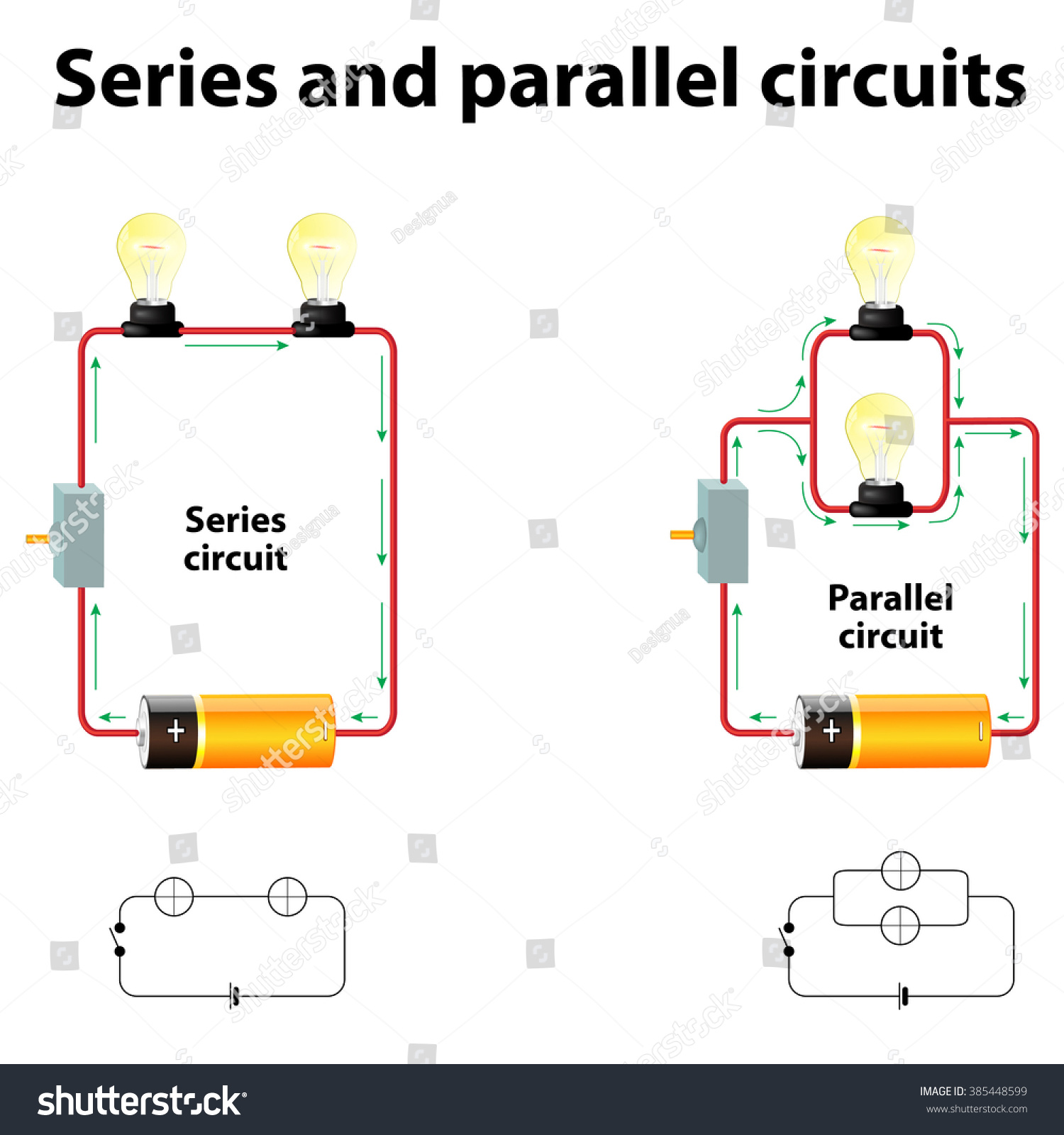 Electric Circuit Parallel Connection Wiring Diagram And Ebooks Series Solver Circuits Stock Vector Royalty Free 385448599 Rh Shutterstock Com Resistor Board Calculator
