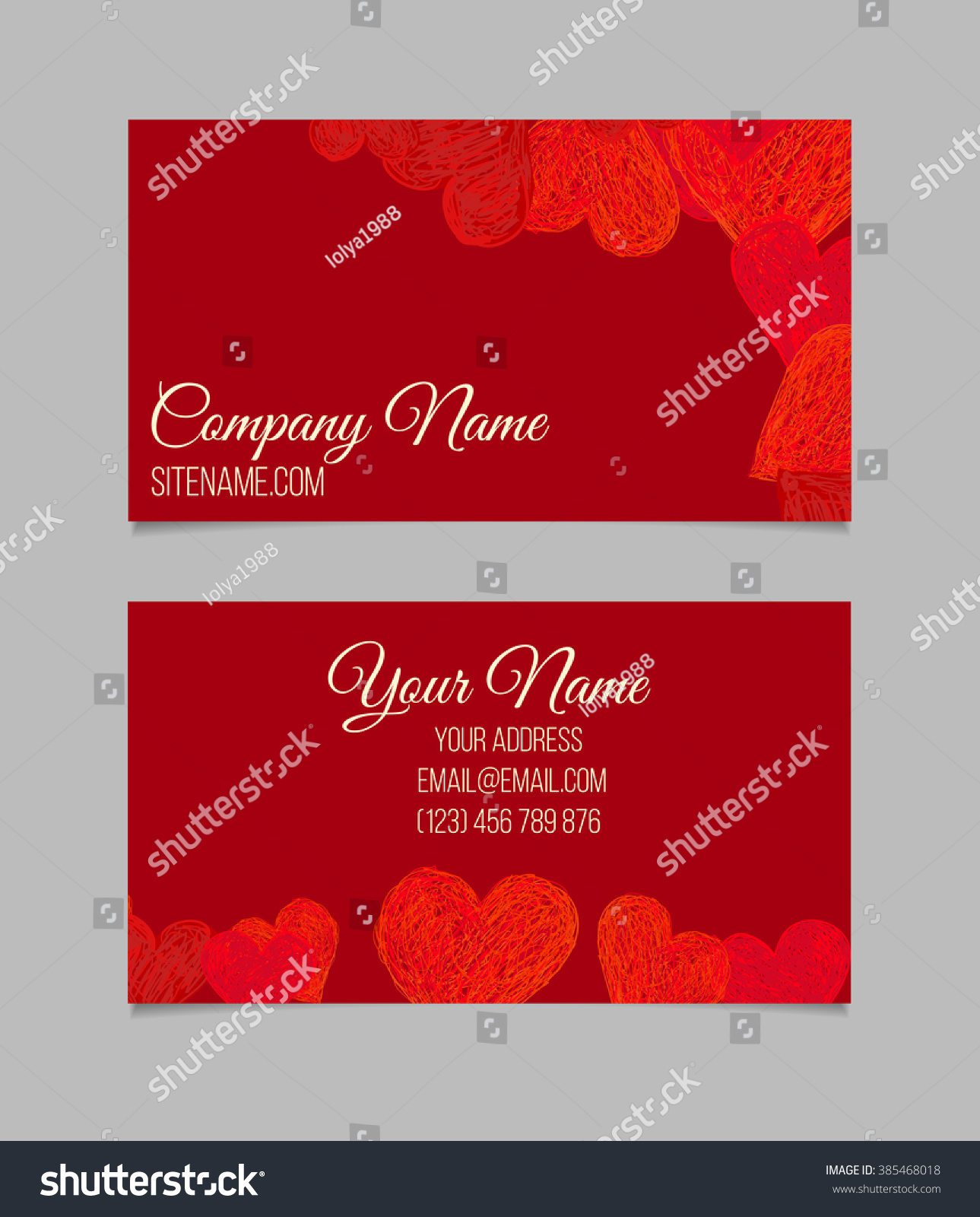 Business Card Template Doodle Heart Shapes Stock Vector 385468018 ...
