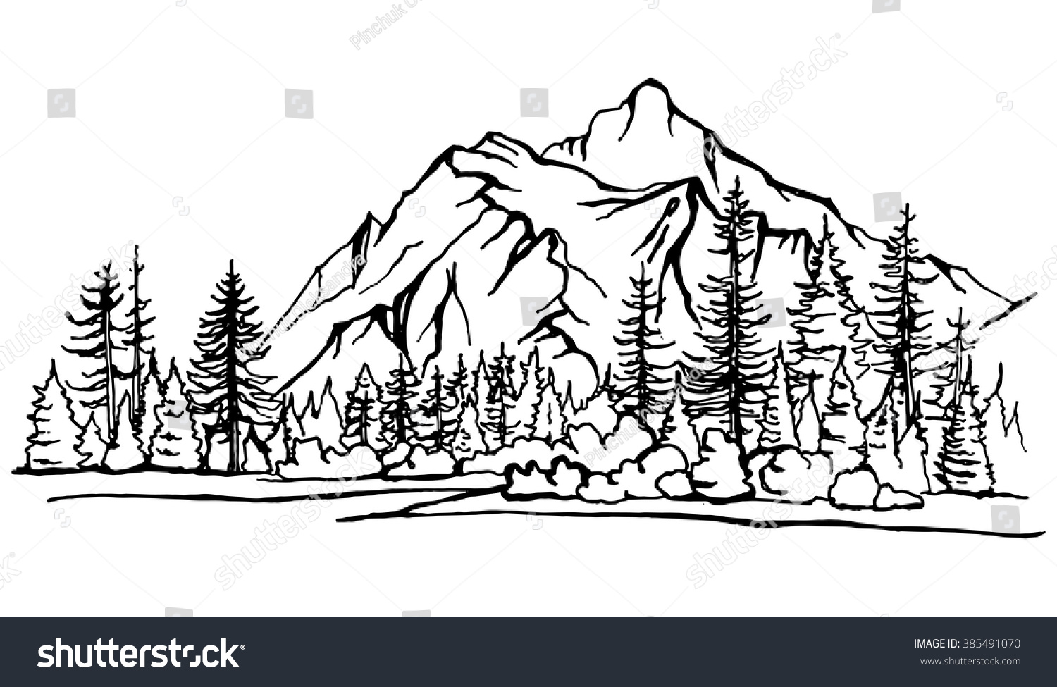 how to draw a pine tree forest