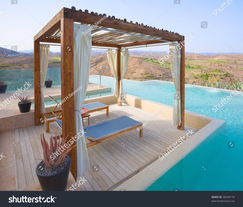 Pergola Luxury Outdoor Pool Spa Stock Photo 38549170