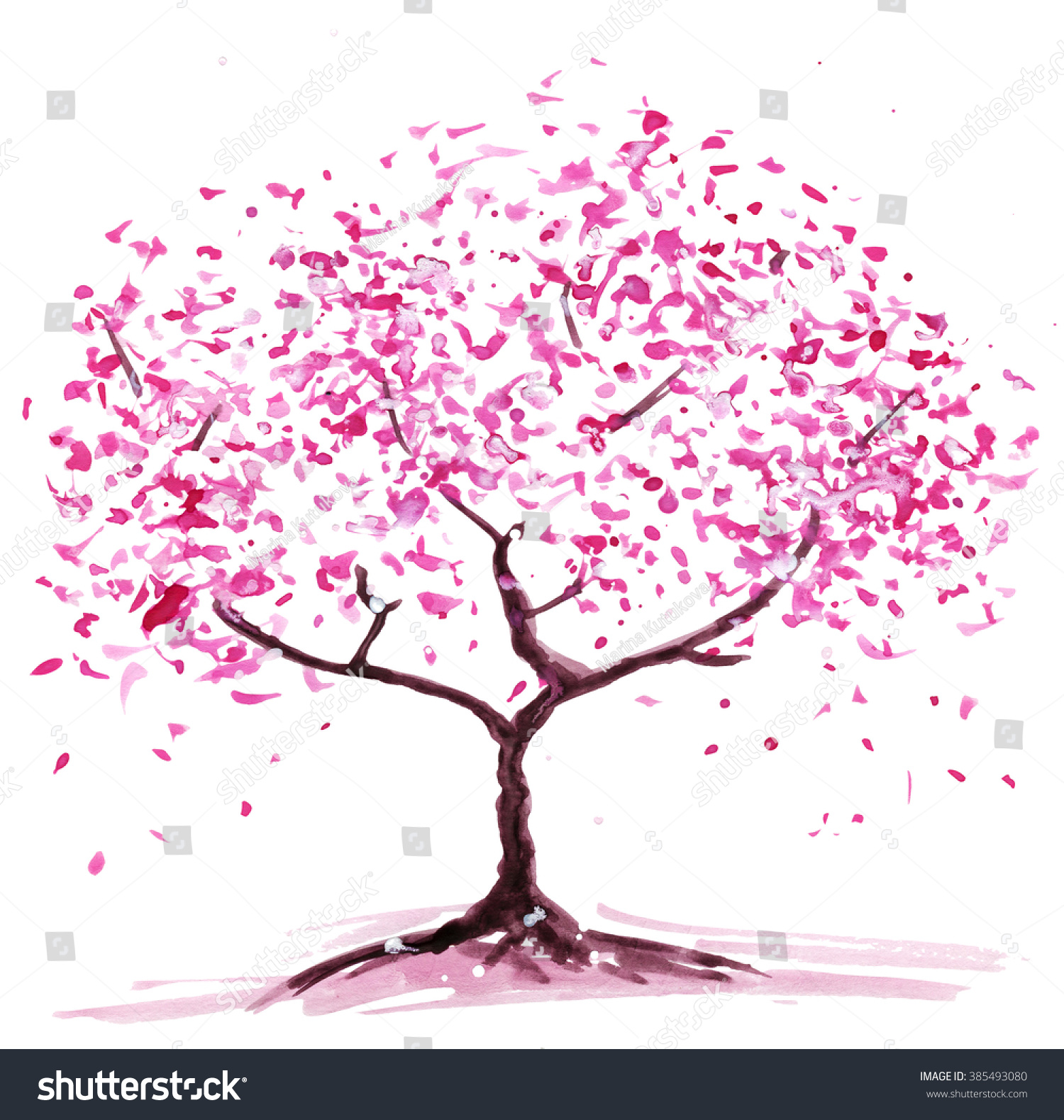 Abstract Flowering Tree Watercolor Painting Color Stock Illustration ...