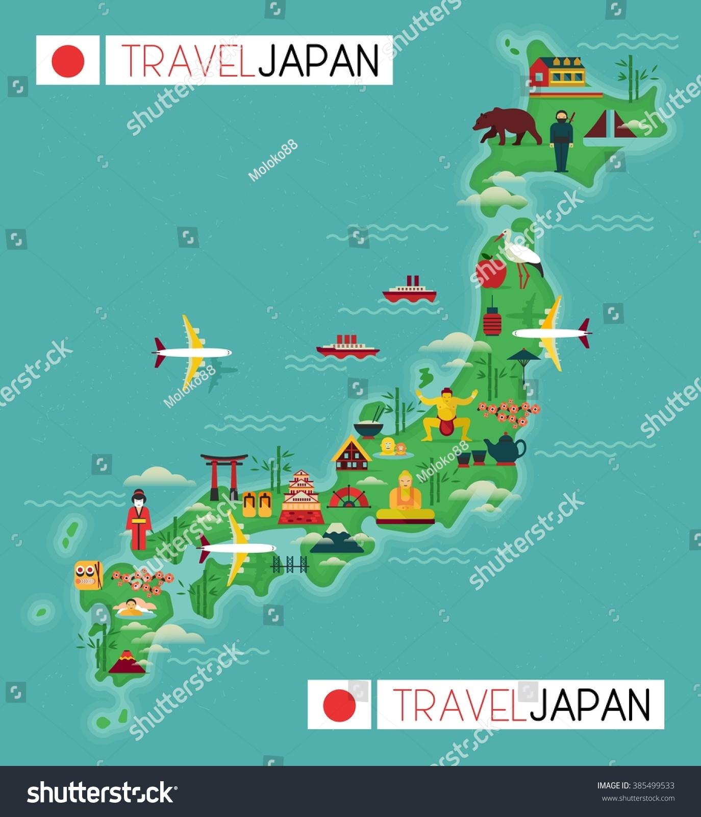Royaltyfree Travel Map Of Japan Stock Photo Avopixcom - Japan map free