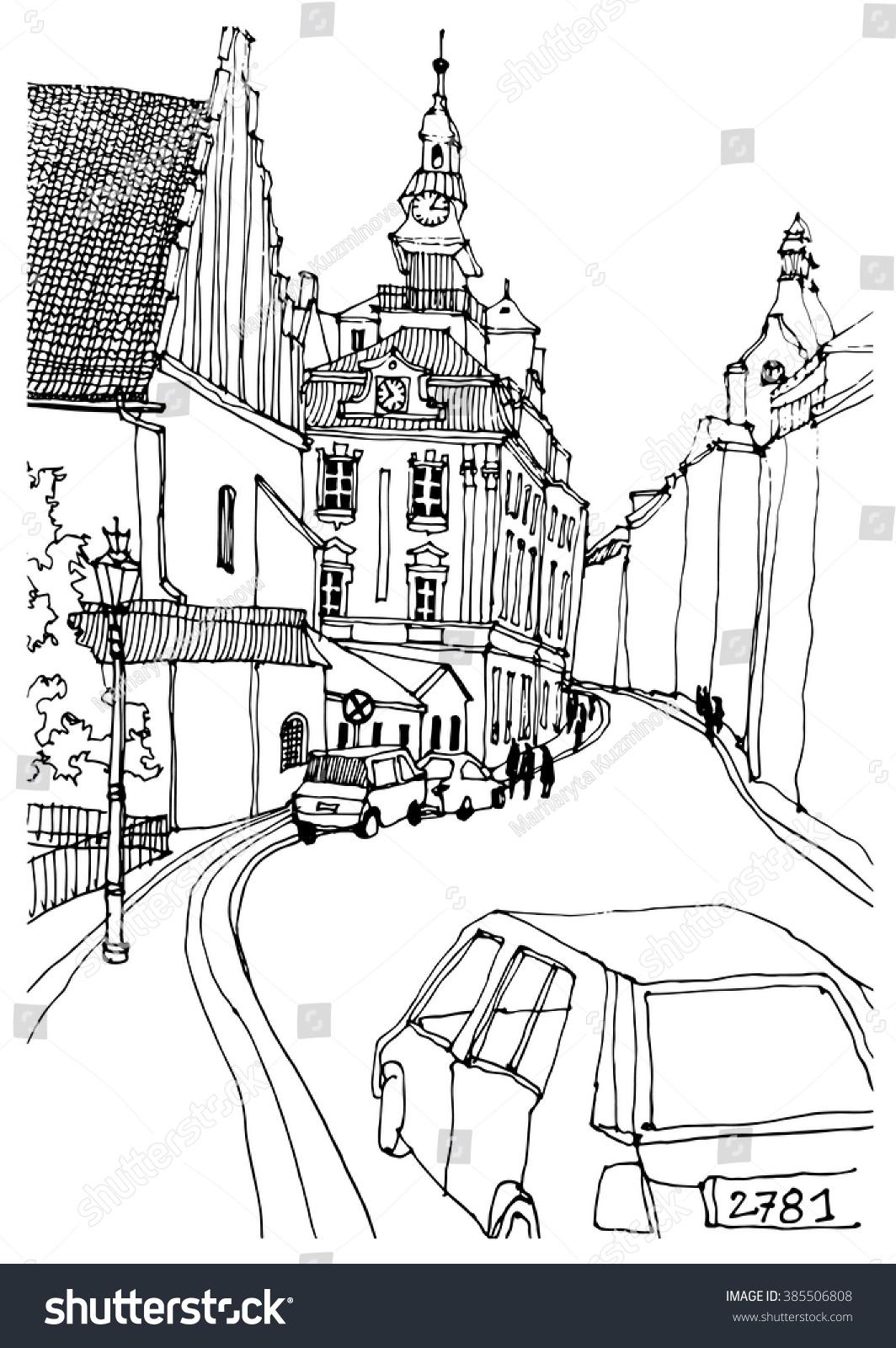 Royalty-free Scene street illustration. Hand drawn… #385506808 Stock ...