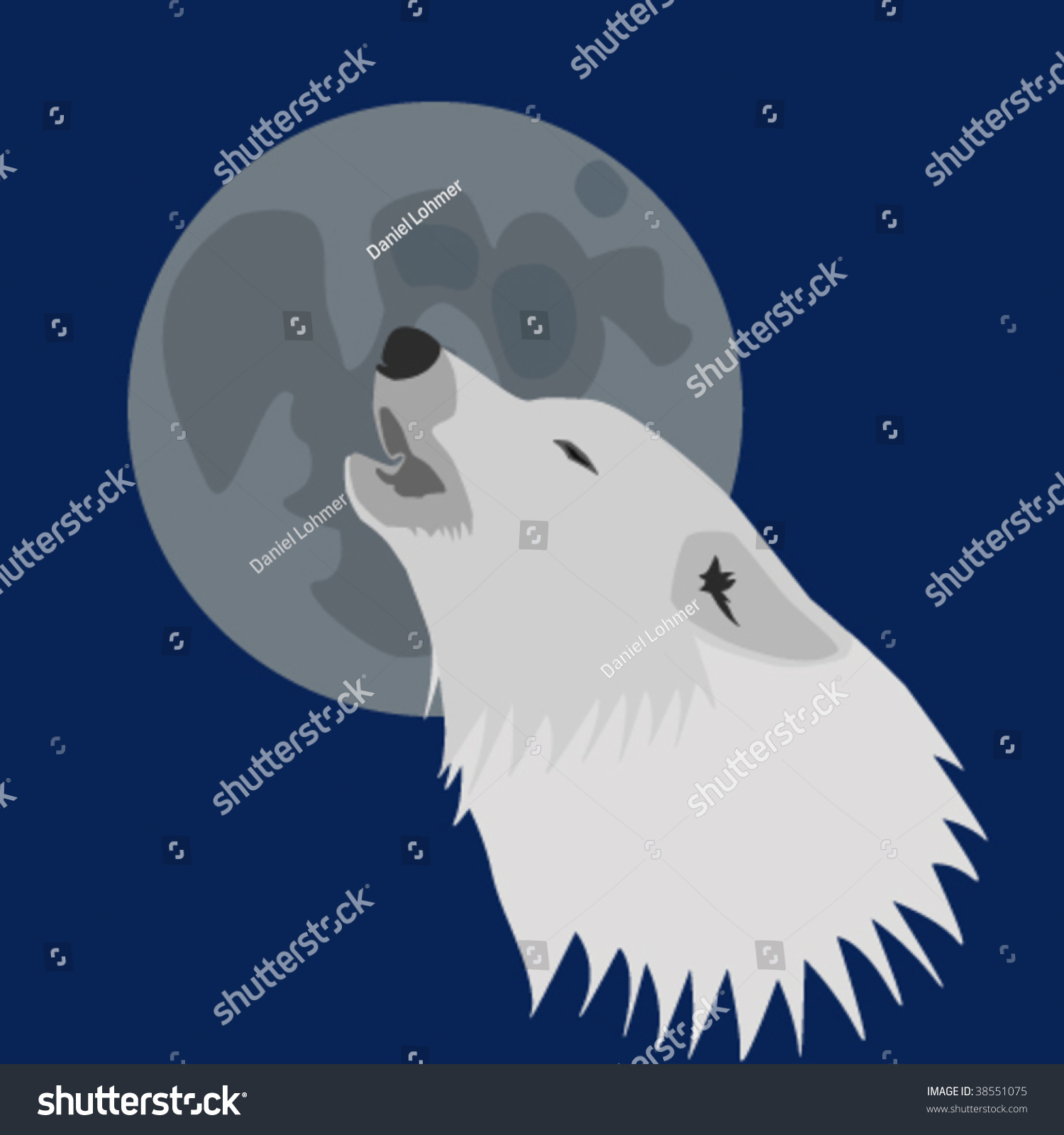 Arctic Wolf Howling Moon Stock Vector 38551075 - Shutterstock