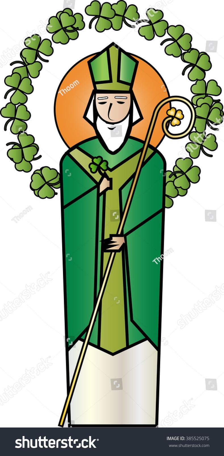 st patrick patron saint ireland simple stock vector 385525075