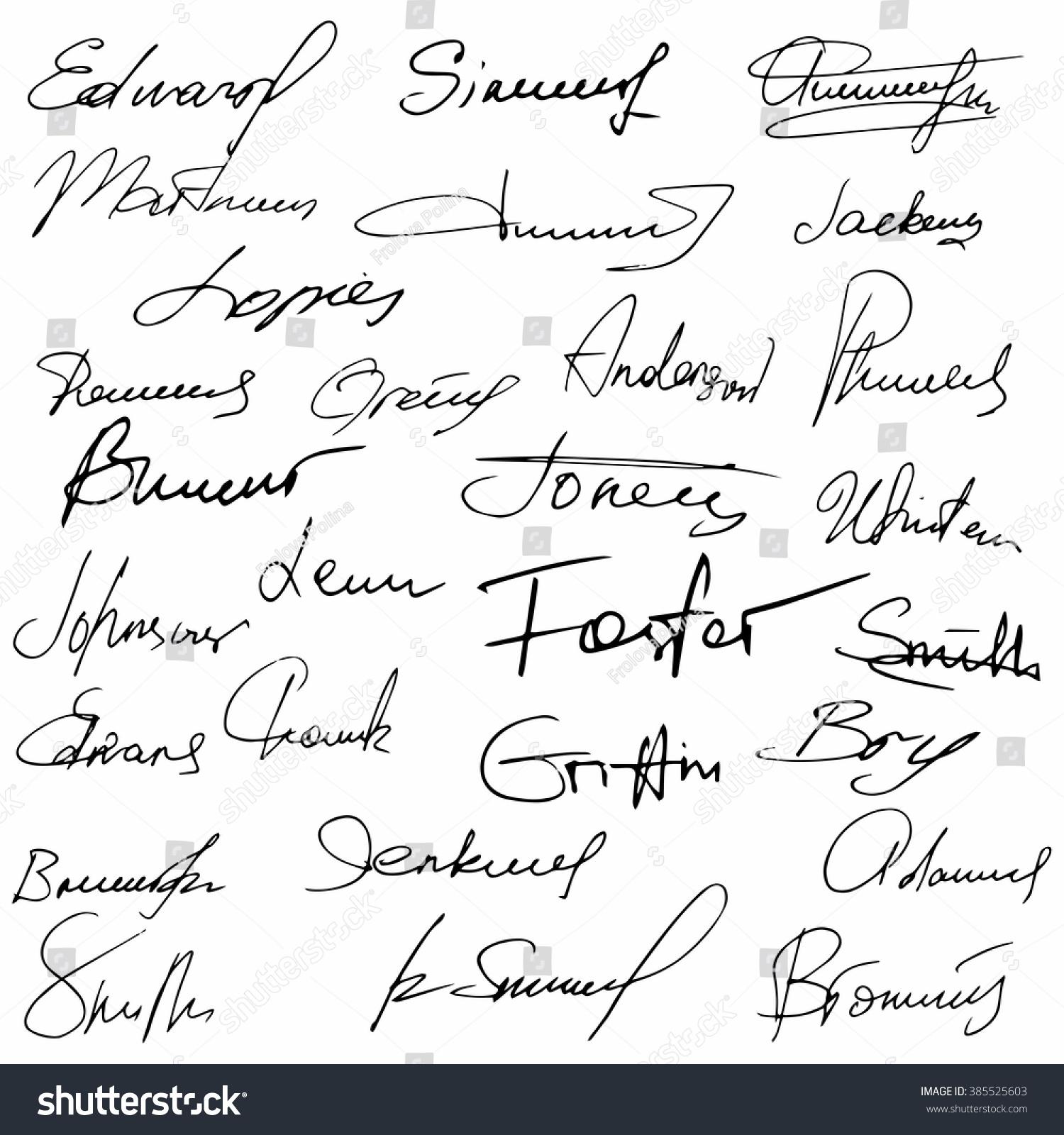 signatures set fictitious contract signatures business autograph illustration 385525603