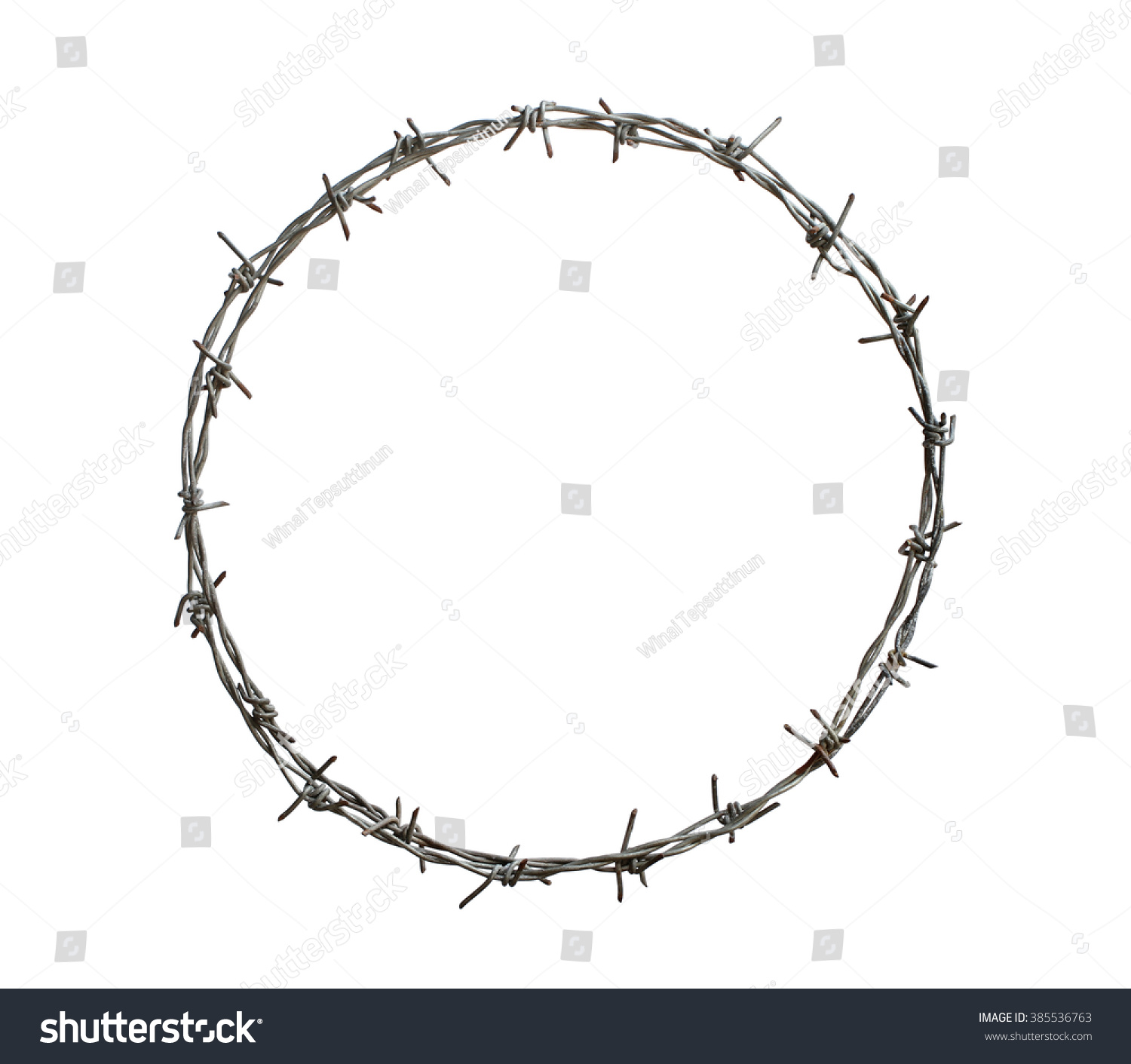 Royalty-free Barbed wire circle isolated on white… #385536763 Stock ...