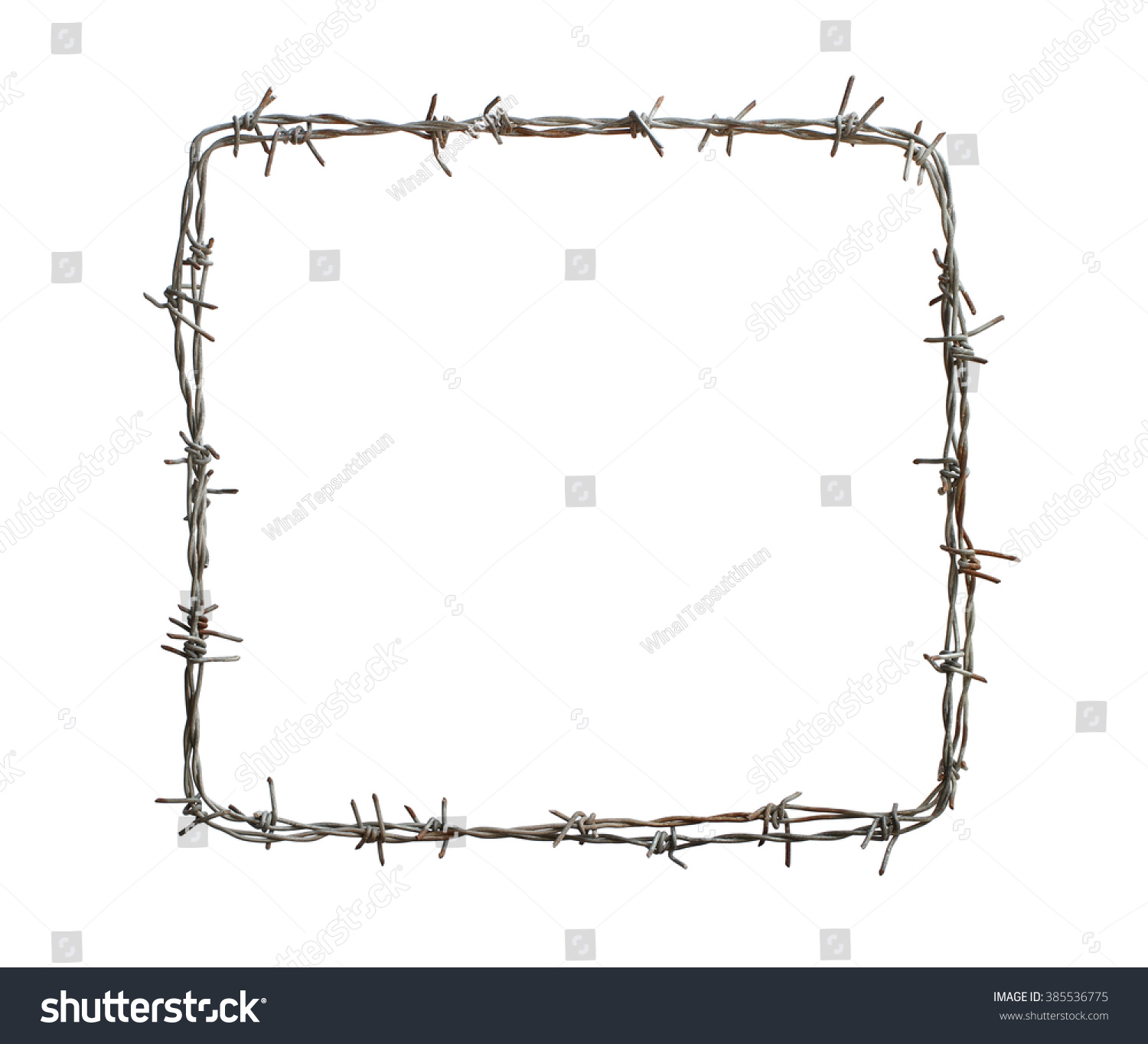 Barbed Wire Square Isolated On White Stock Photo (100% Legal ...