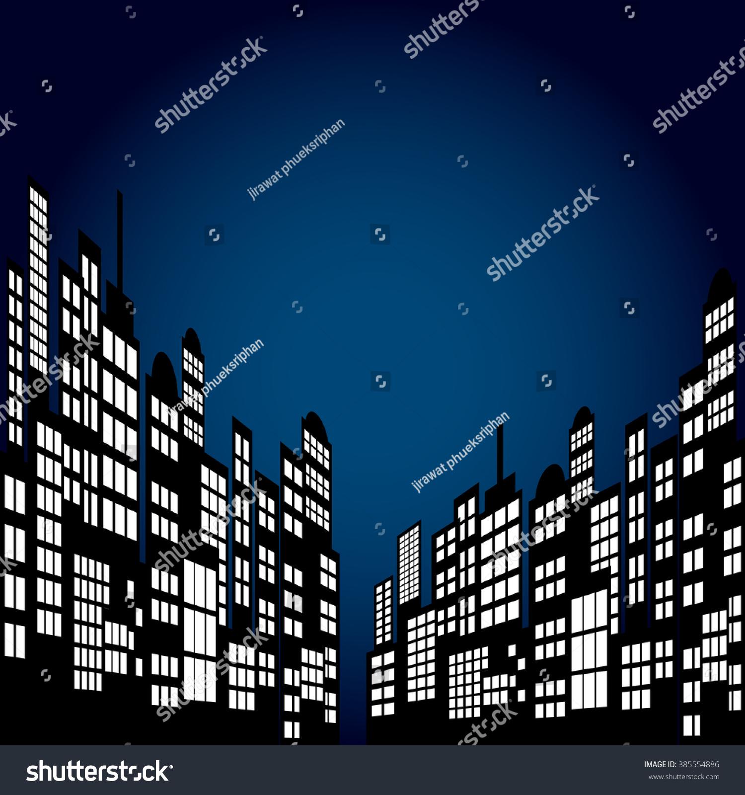 Style Cartoon Night City Skyline Background Stock Vector
