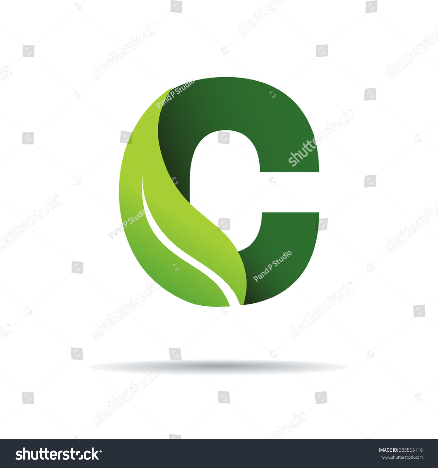 Green Eco Letters C Logo Leaves Stock Vector (Royalty Free ...