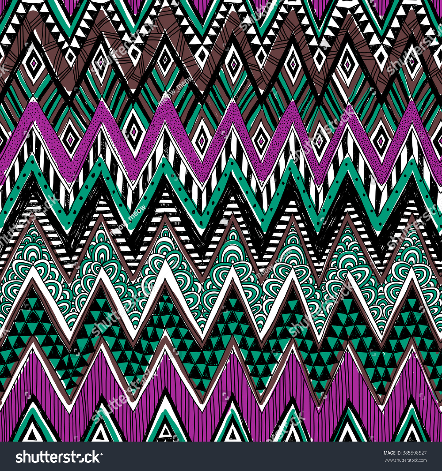 Background geometric mexican patterns seamless vector zigzag maya - Colored Zigzag Tribal Vector Seamless Pattern With Doodle Elements Aztec Abstract Geometric Art Print
