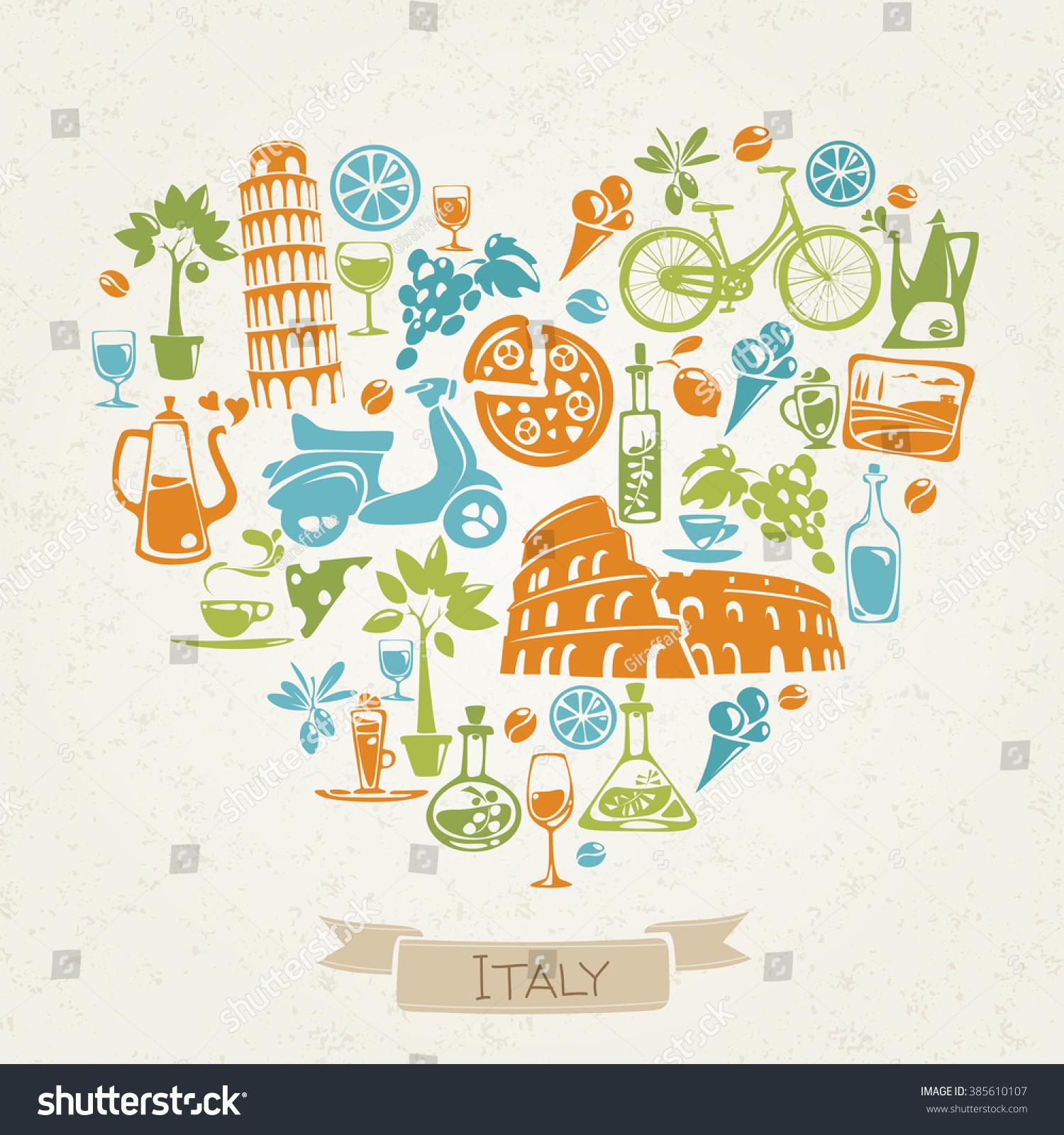Love Italy Heart Shaped Pattern Italian Stock Vector Hd Royalty