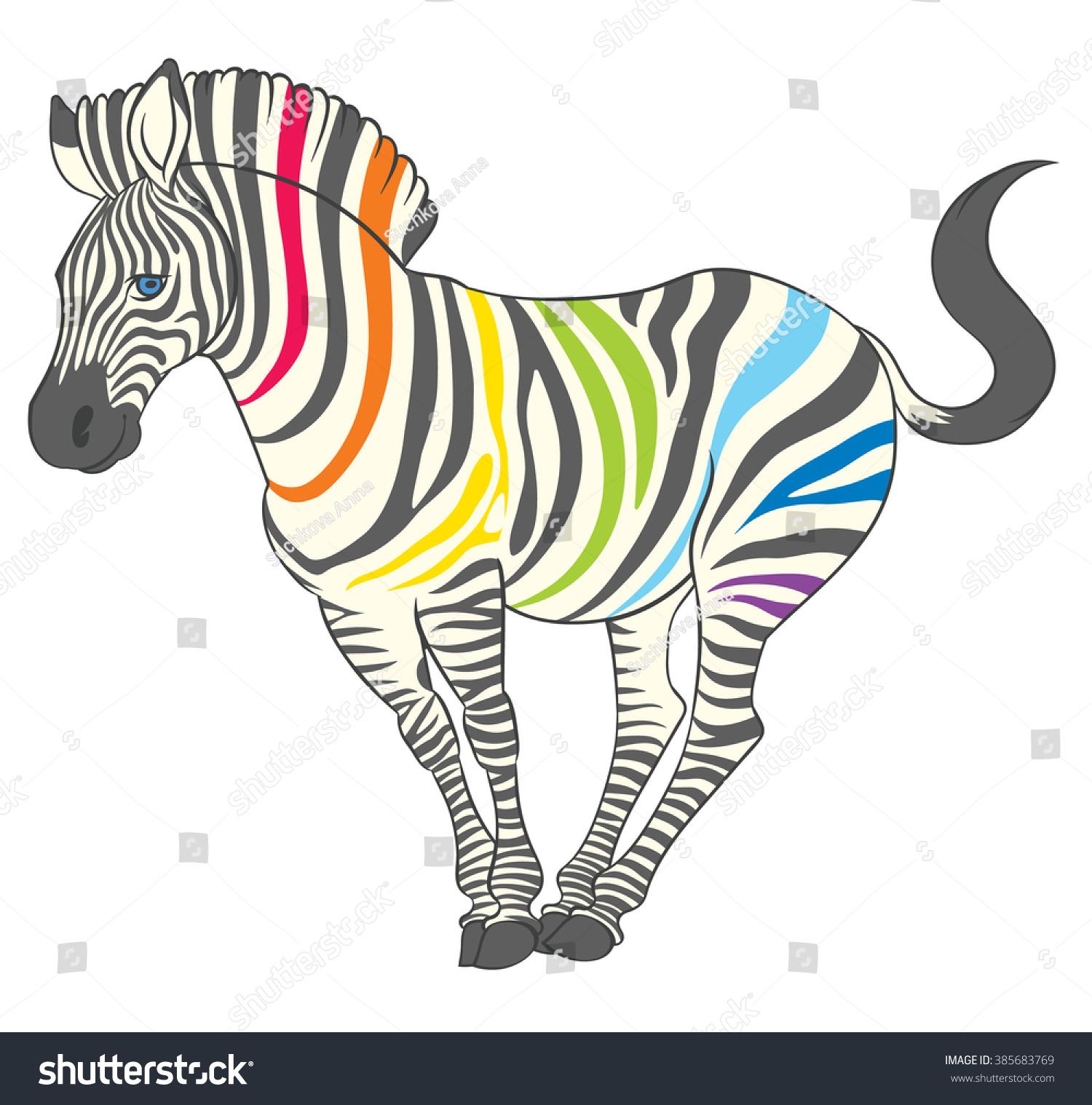 Line Drawing Rainbow : Cute naturalistic zebra rainbow stripes funny stock vector