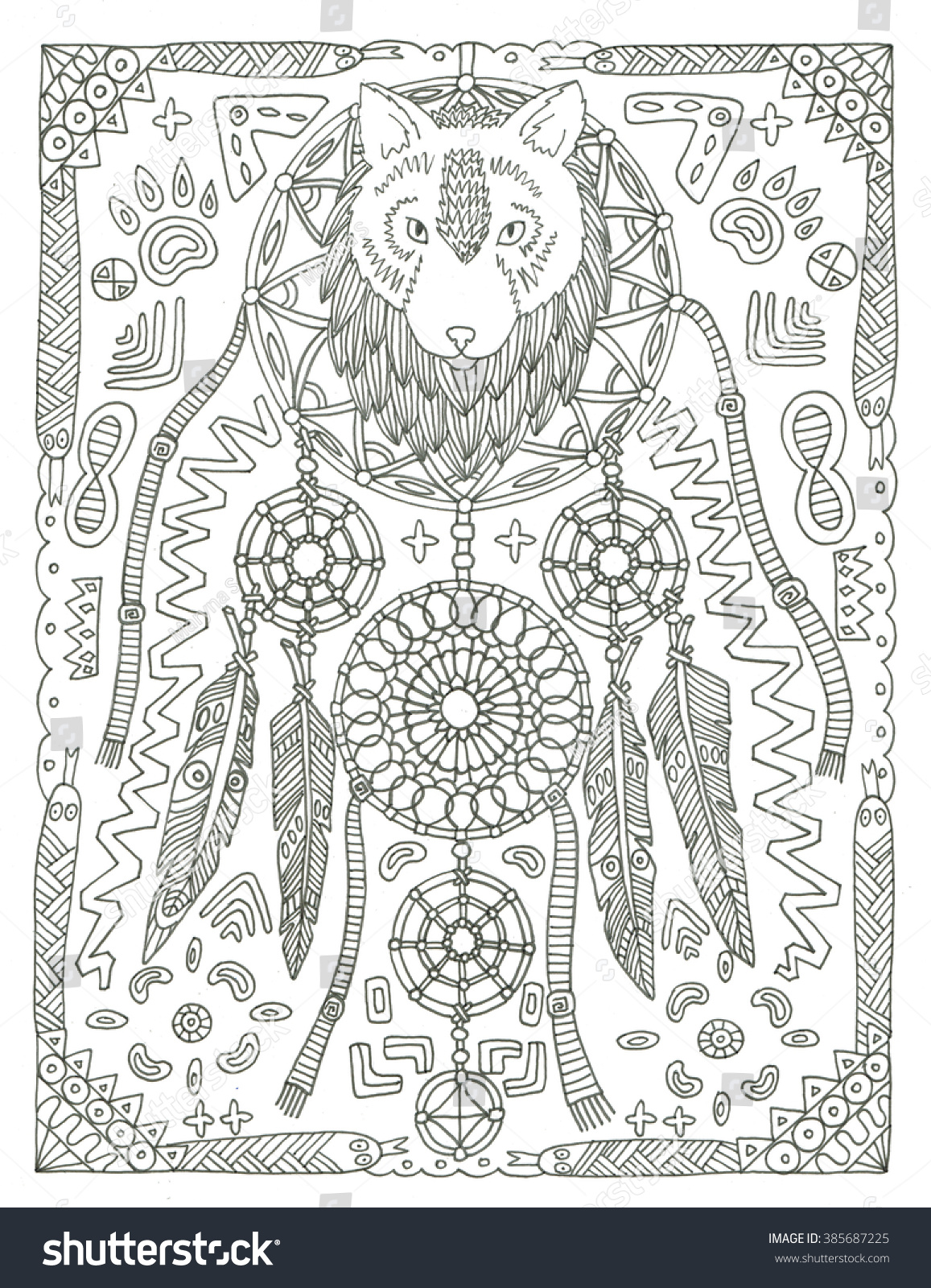 Coloring pages dream catchers - Wolf Dream Catcher Coloring Page
