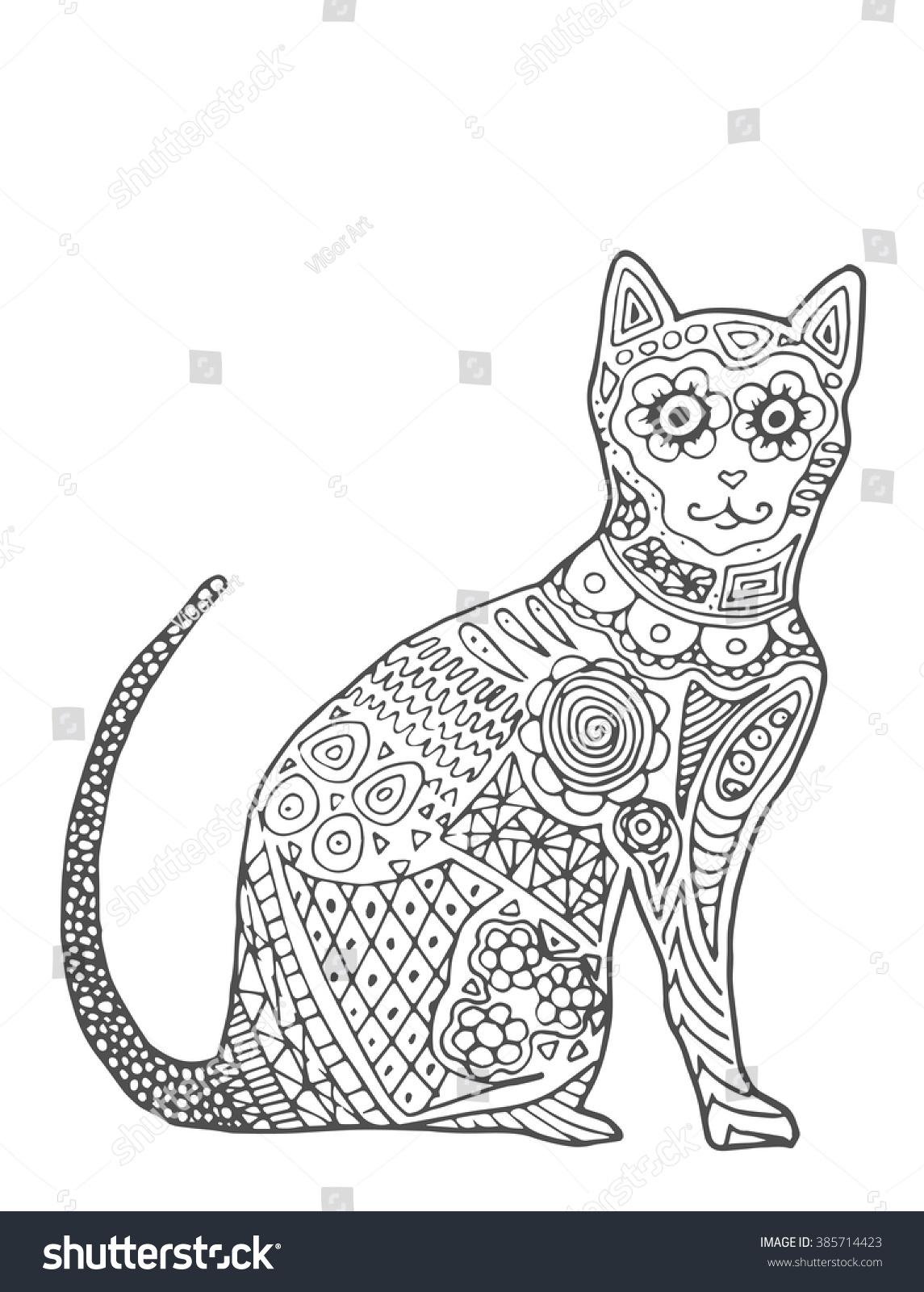 Cat Zentangle Doodle Cat Mehendi Abstract Stock Vector 385714423 - Shutterstock