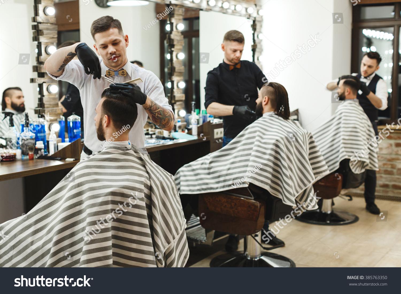 Three Young Stylish Men Dark Hair Stock Photo Edit Now 385763350