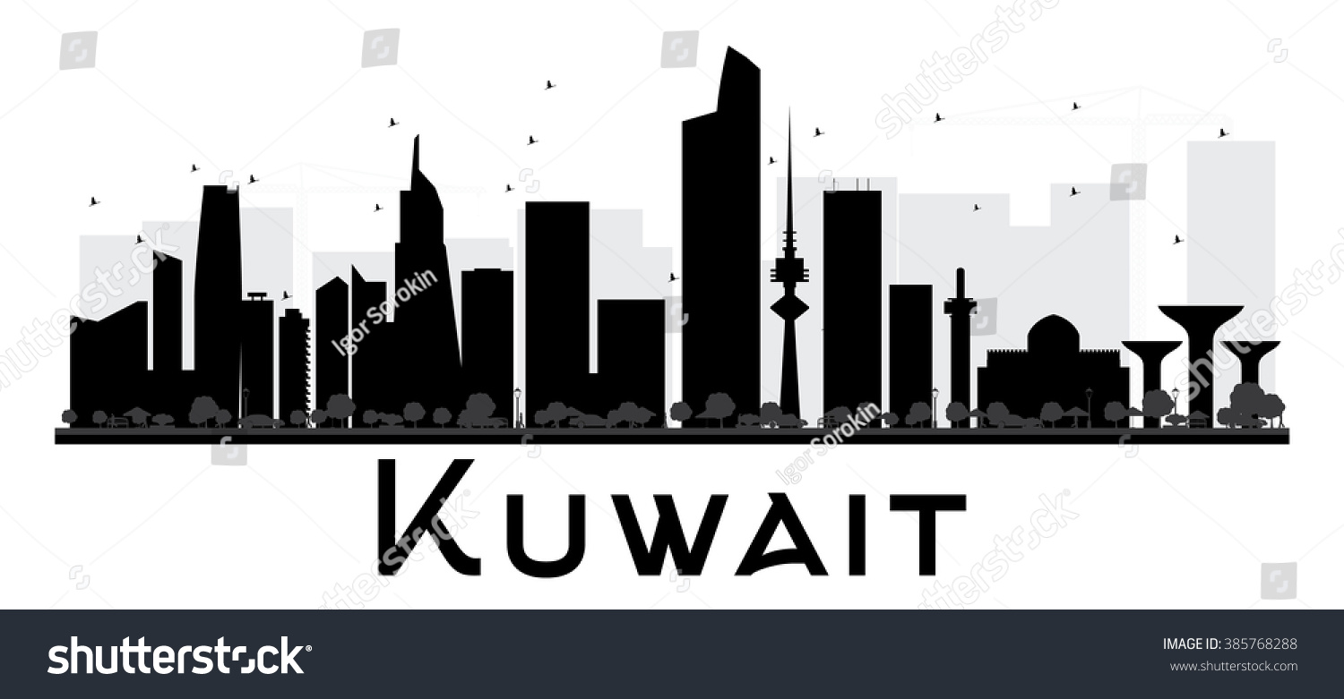 bbaf75f9c120 Kuwait City skyline black and white silhouette. Vector illustration. Simple  flat concept for tourism