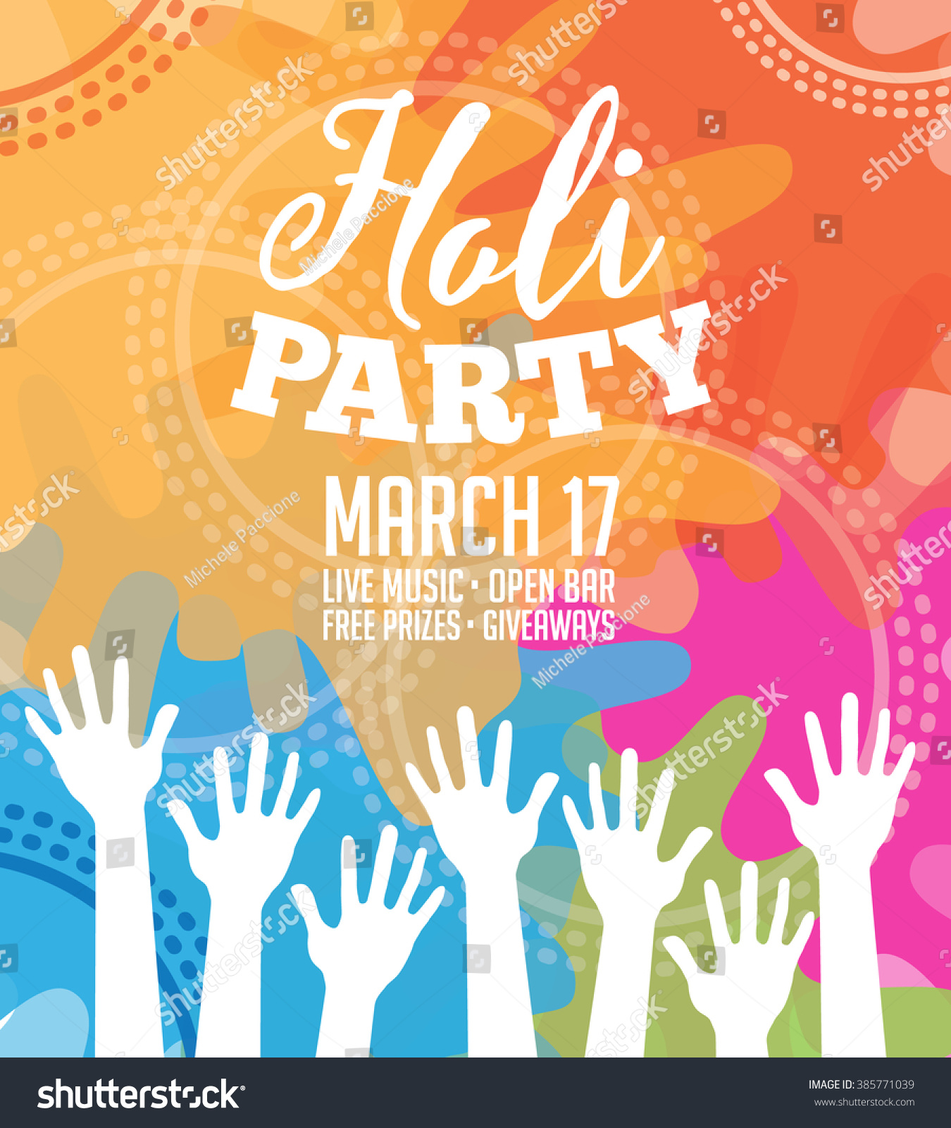 Holi Party Invitation Poster Greeting Card Stock Photo (Photo ...