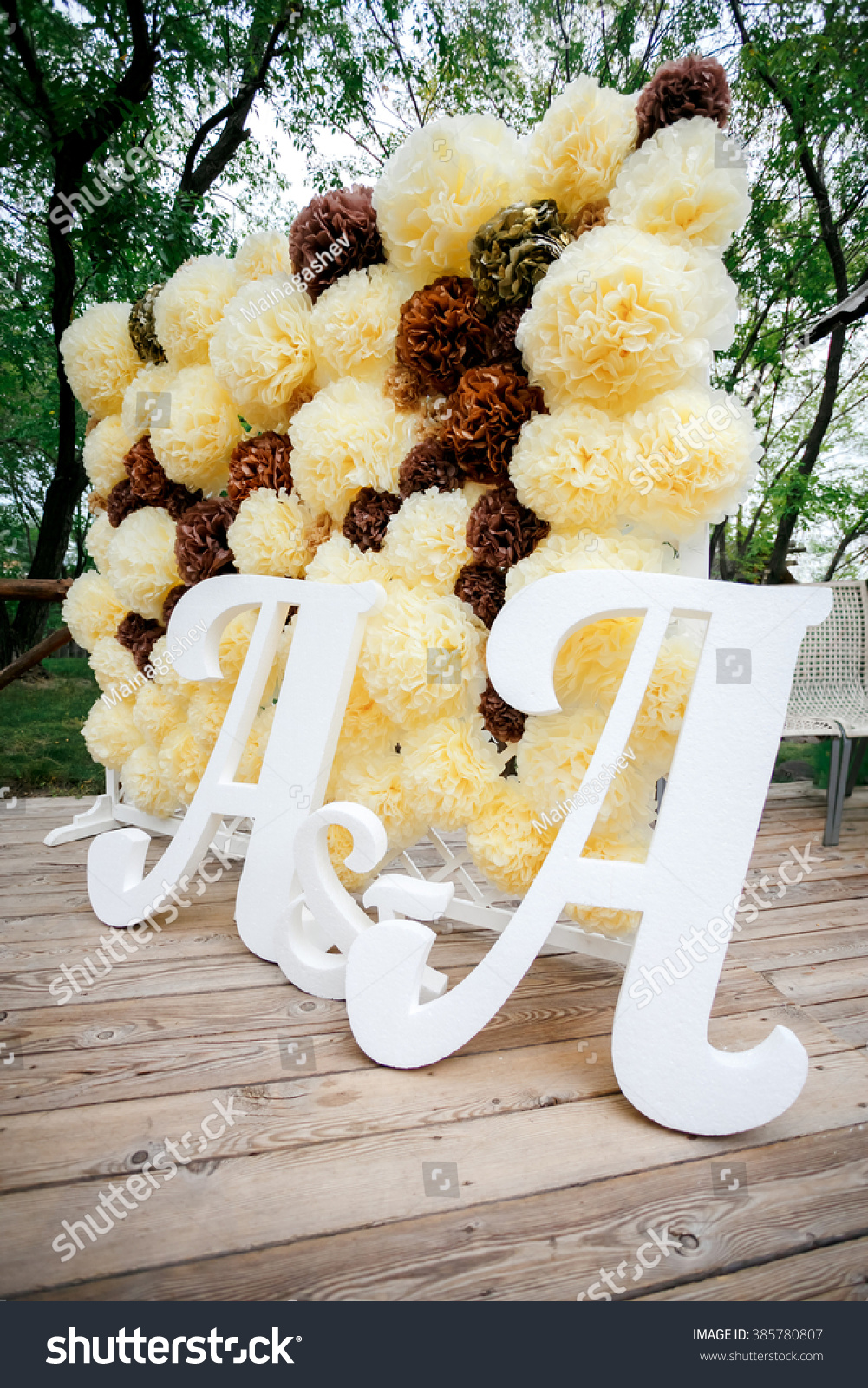 Flower Pompon Backdrop Wall Wedding Decoration Stock Photo Edit Now