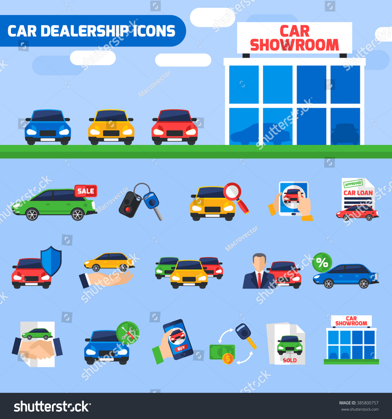 Car Dealership Center Flat Icons Composition With New
