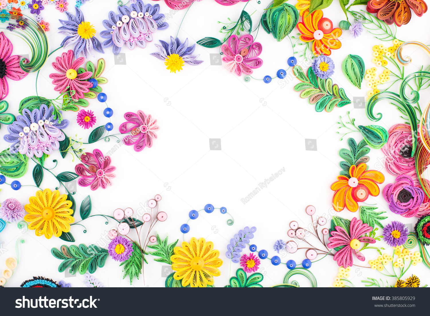 Paper Quillingcolorful Paper Flowers Stock Photo Royalty Free