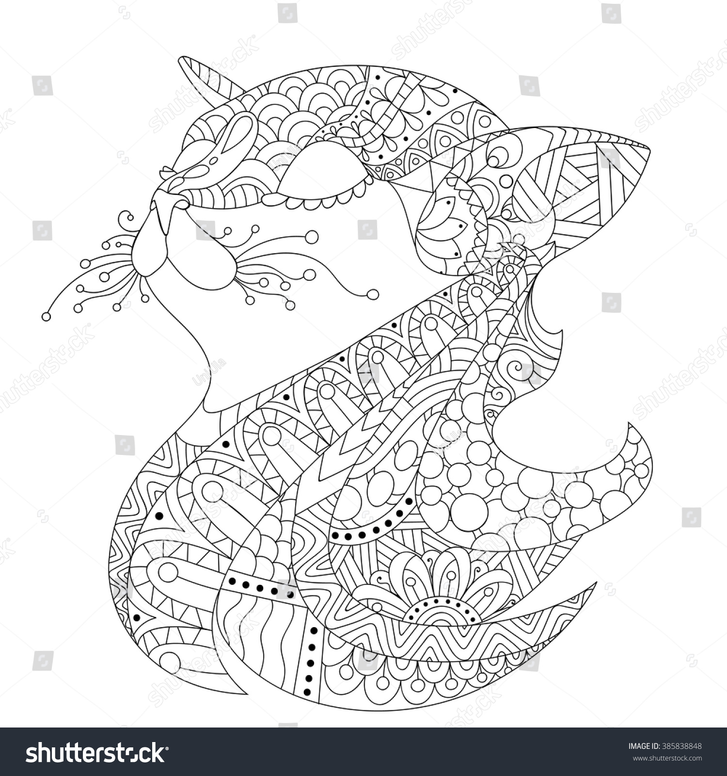 Ornamental Cats Head Drawing Coloring Book Stock Vector 385838848